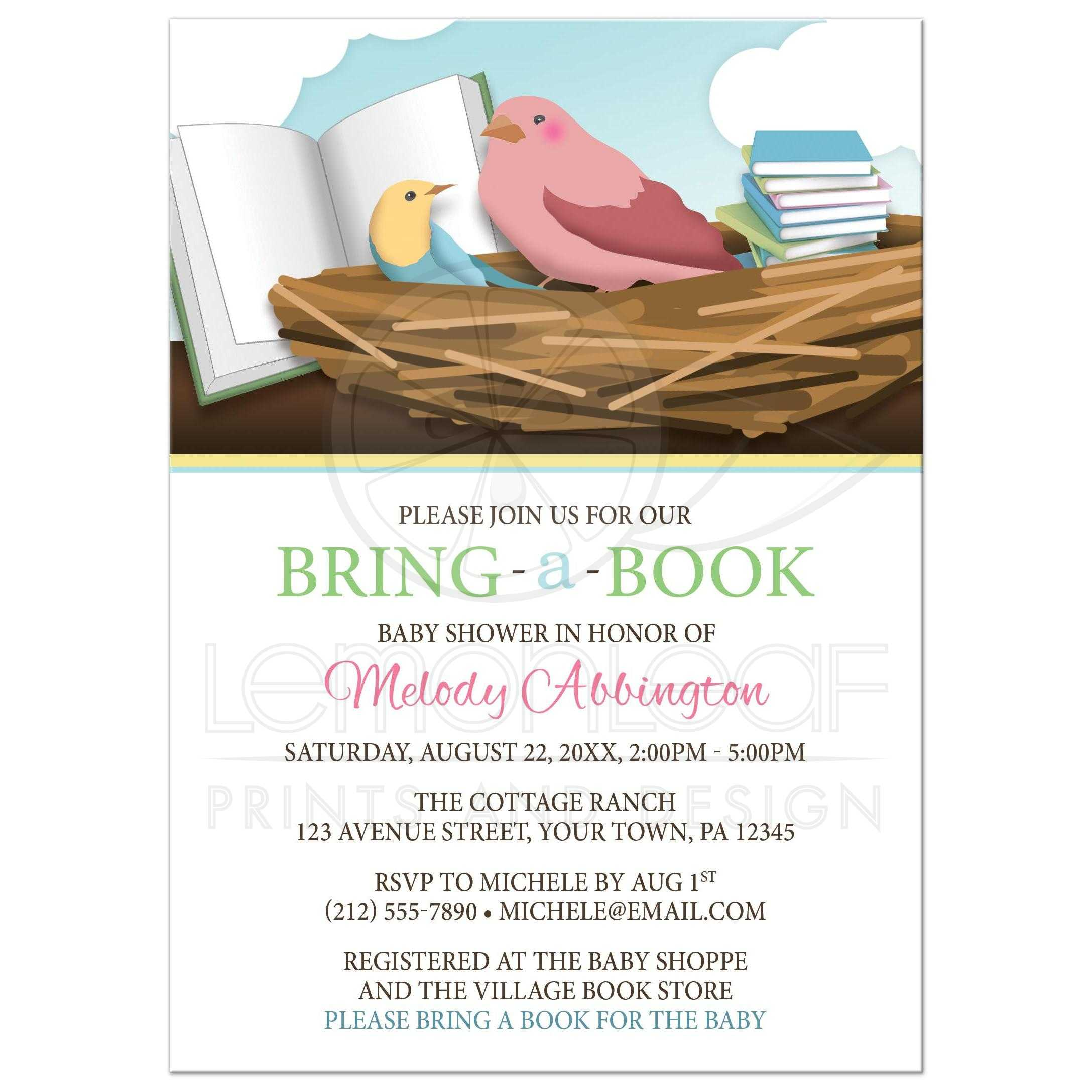 Baby Shower Invitations - Bird Nest Bring a Book