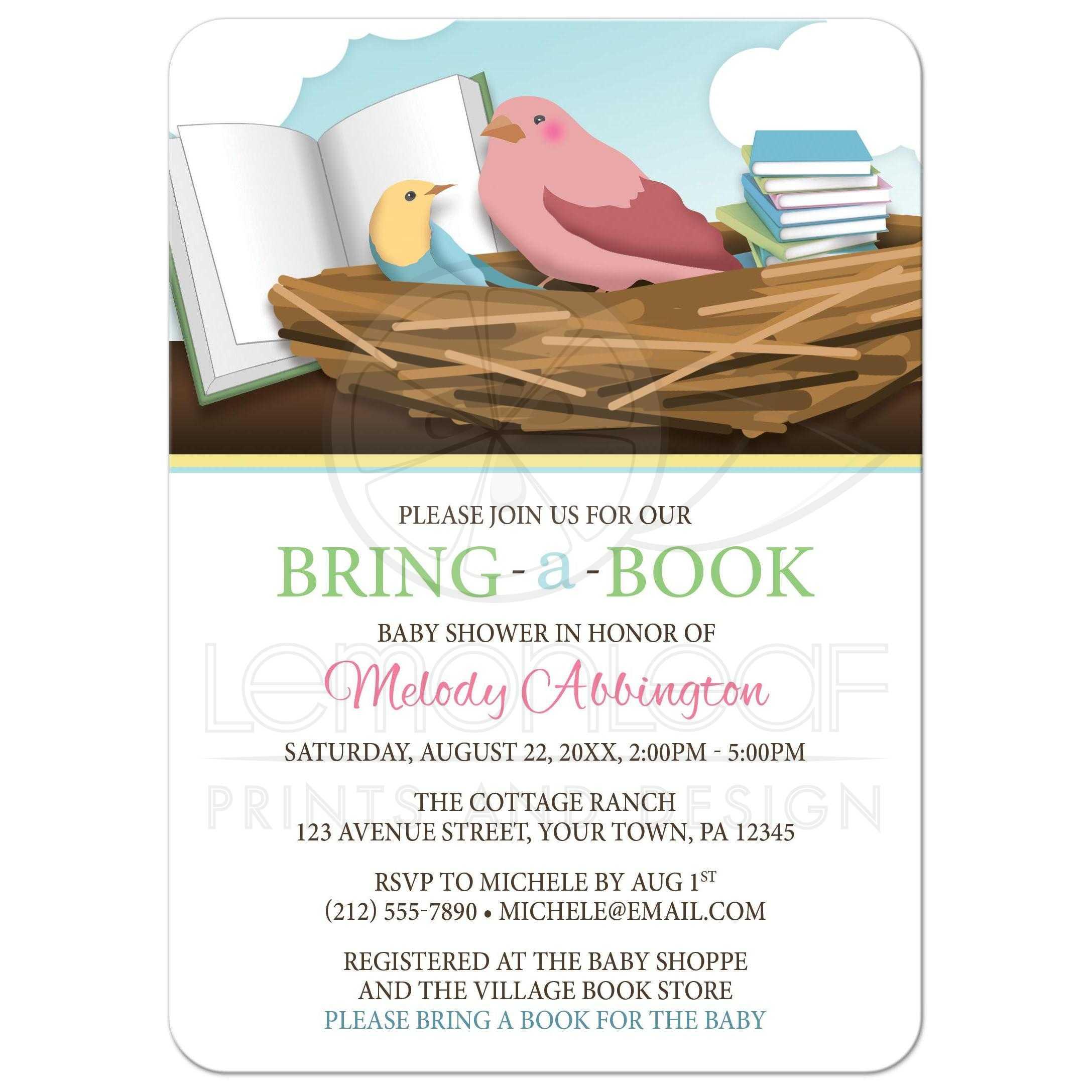 Baby Shower Invitations - Bird Nest Bring a Book