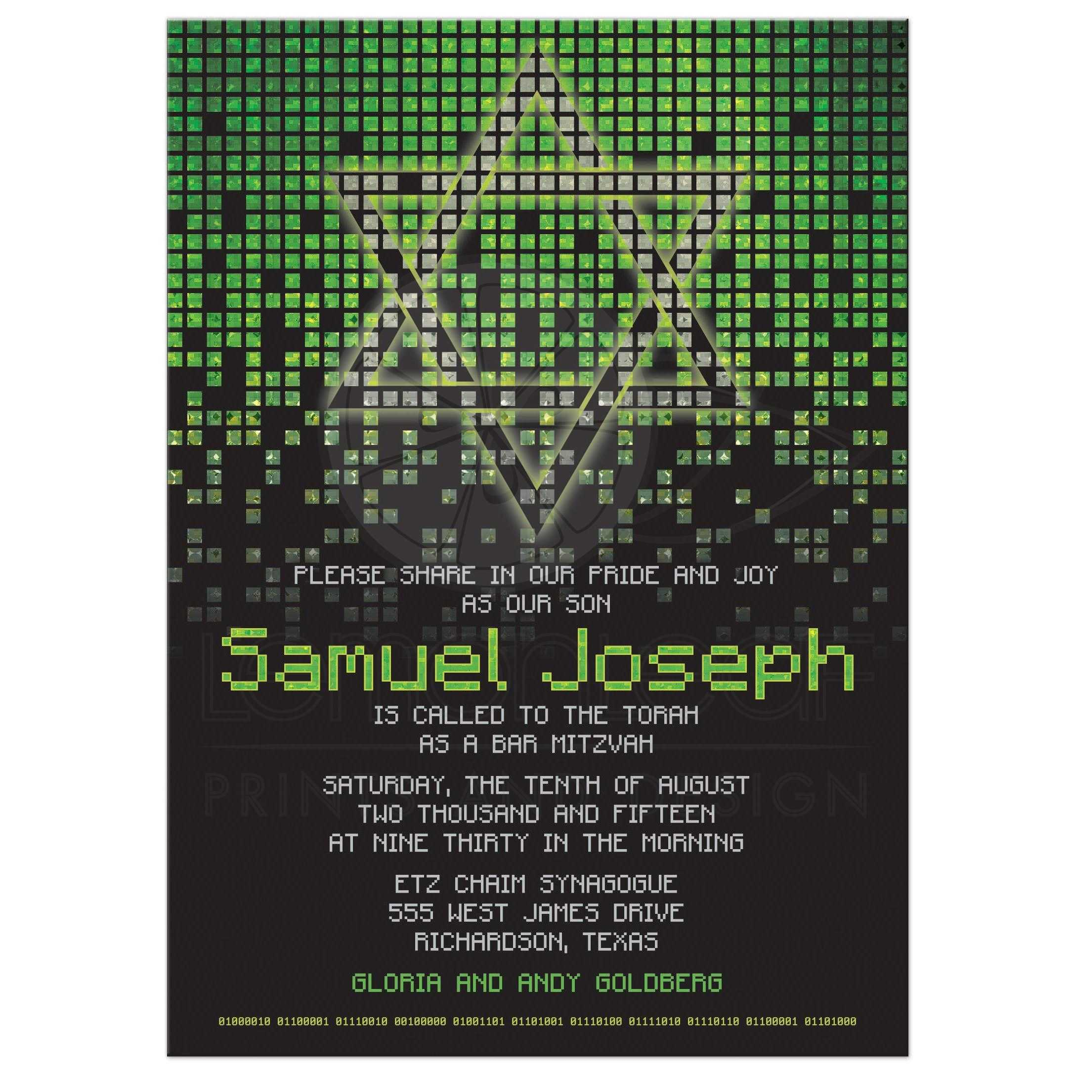 Video Game Bar Mitzvah Invitation Gamer Lime Green Black Pixel