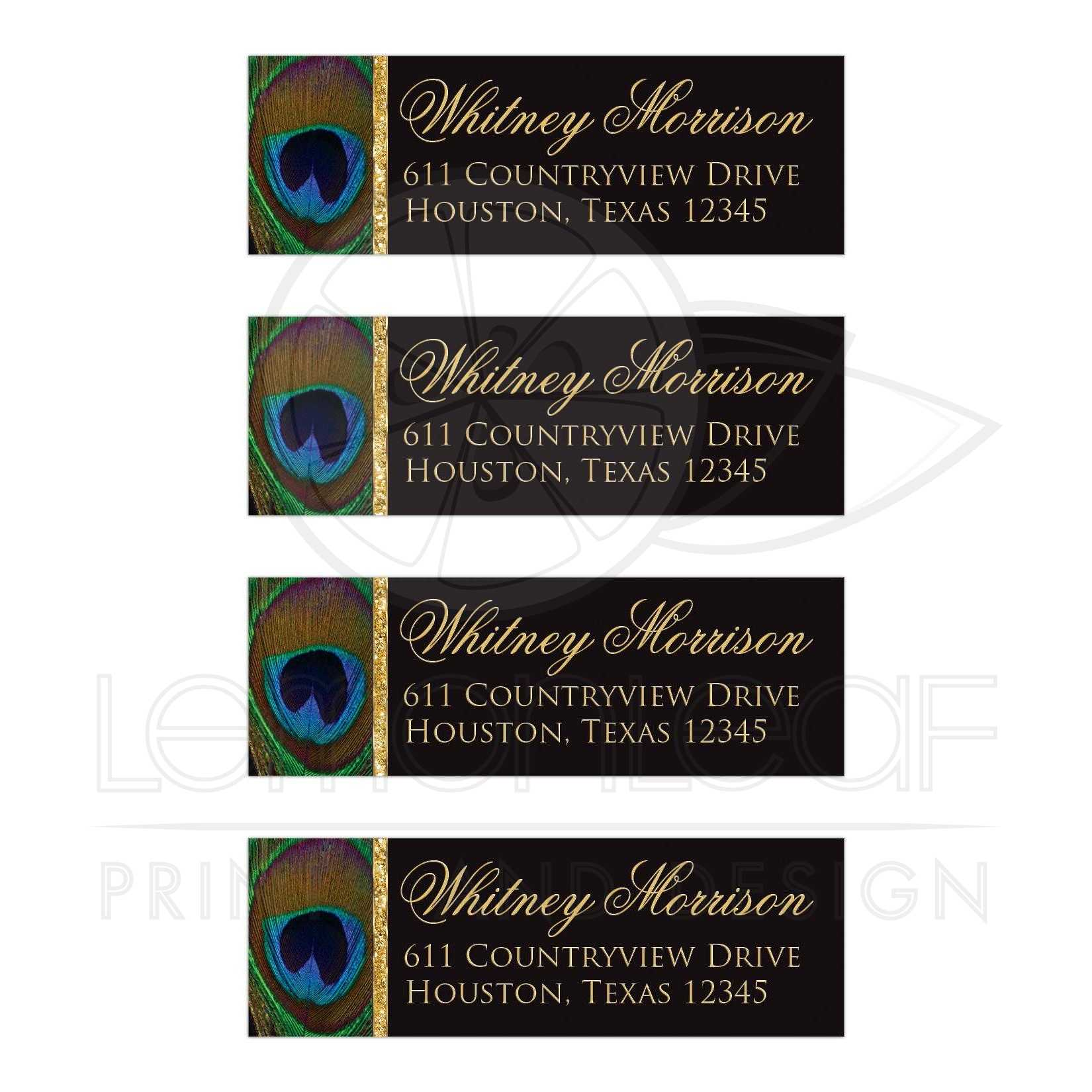 address labels peacock feather black and gold faux sparkle