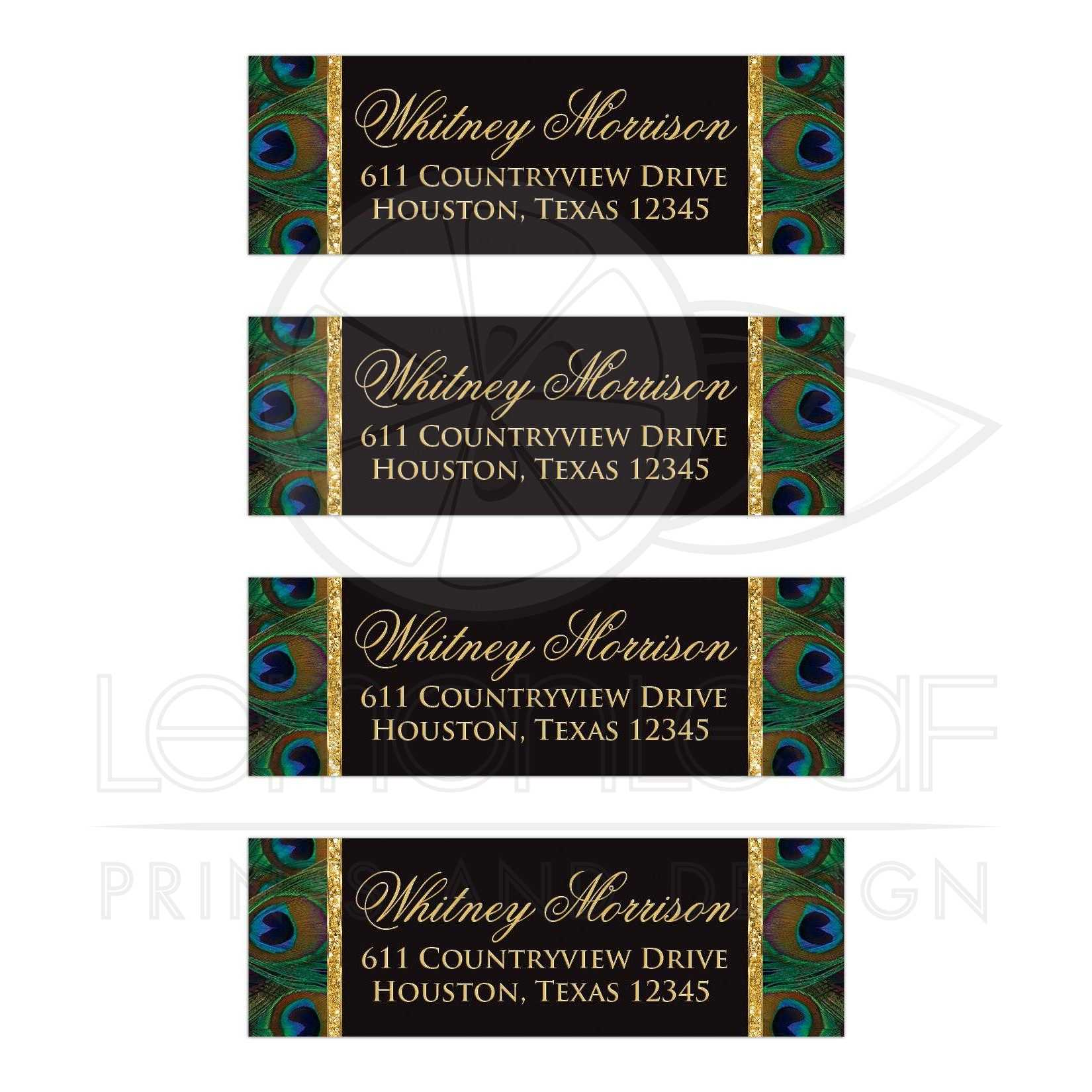 address labels 3 peacock feathers black and gold faux sparkle