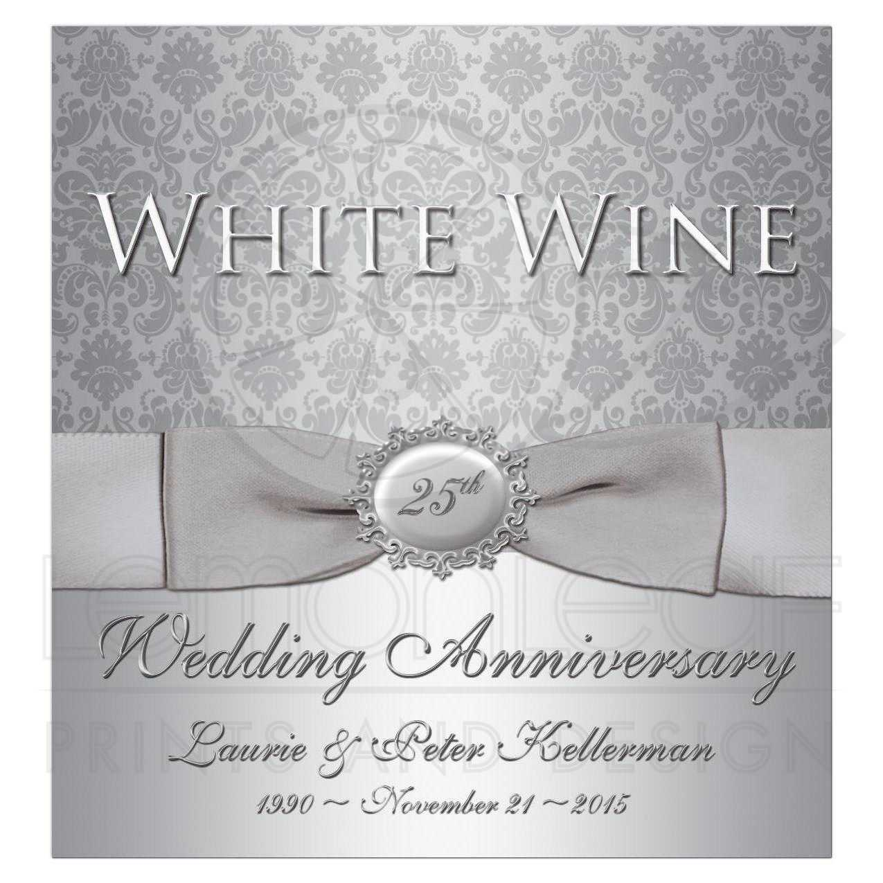 25th Anniversary Wine Bottle Label | Silver Gray Damask | Printed ...