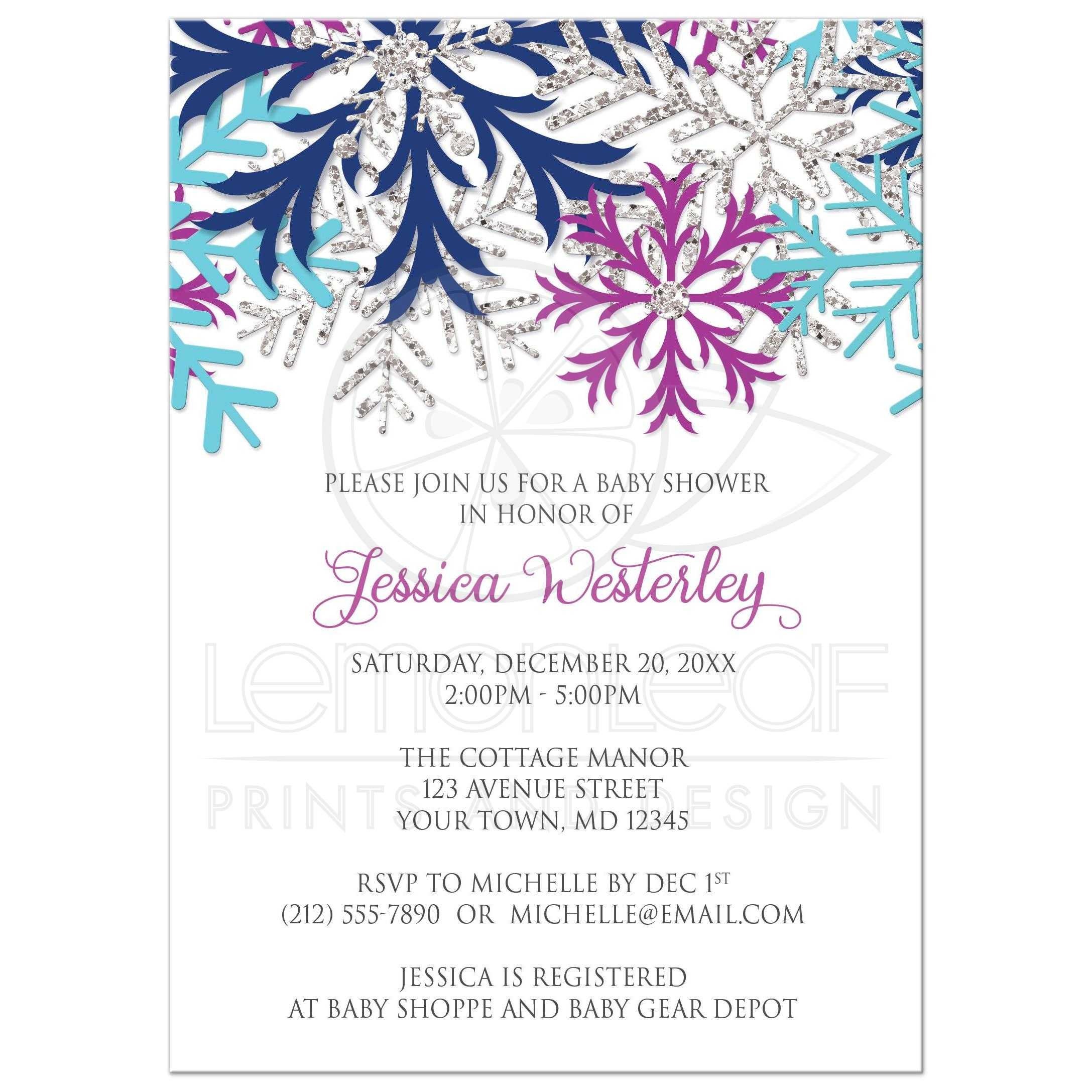 Baby Shower Invitations   Turquoise Navy Orchid Silver Snowflake