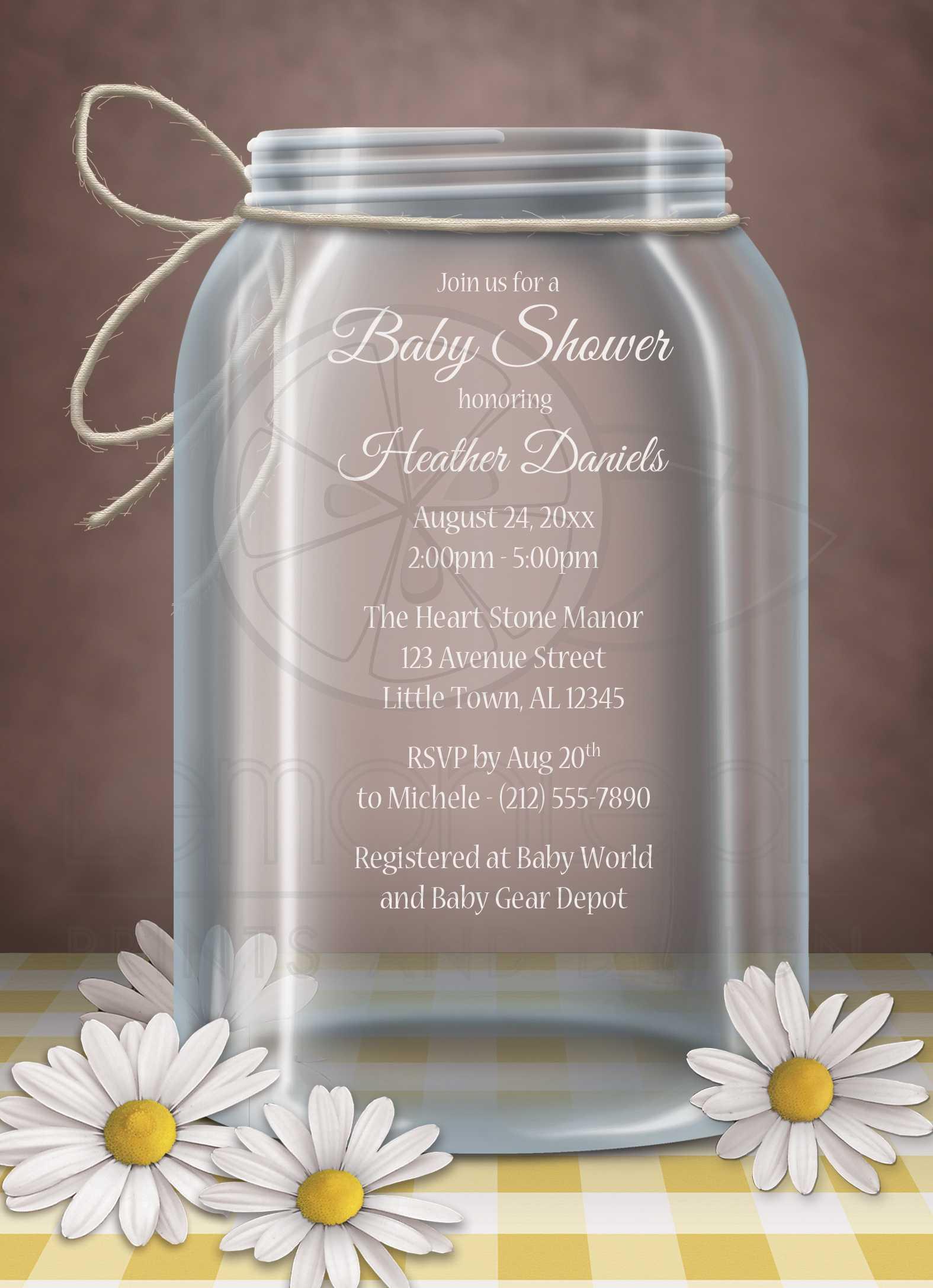 Baby Shower Invitations Mason Jar Daisy Yellow Gingham