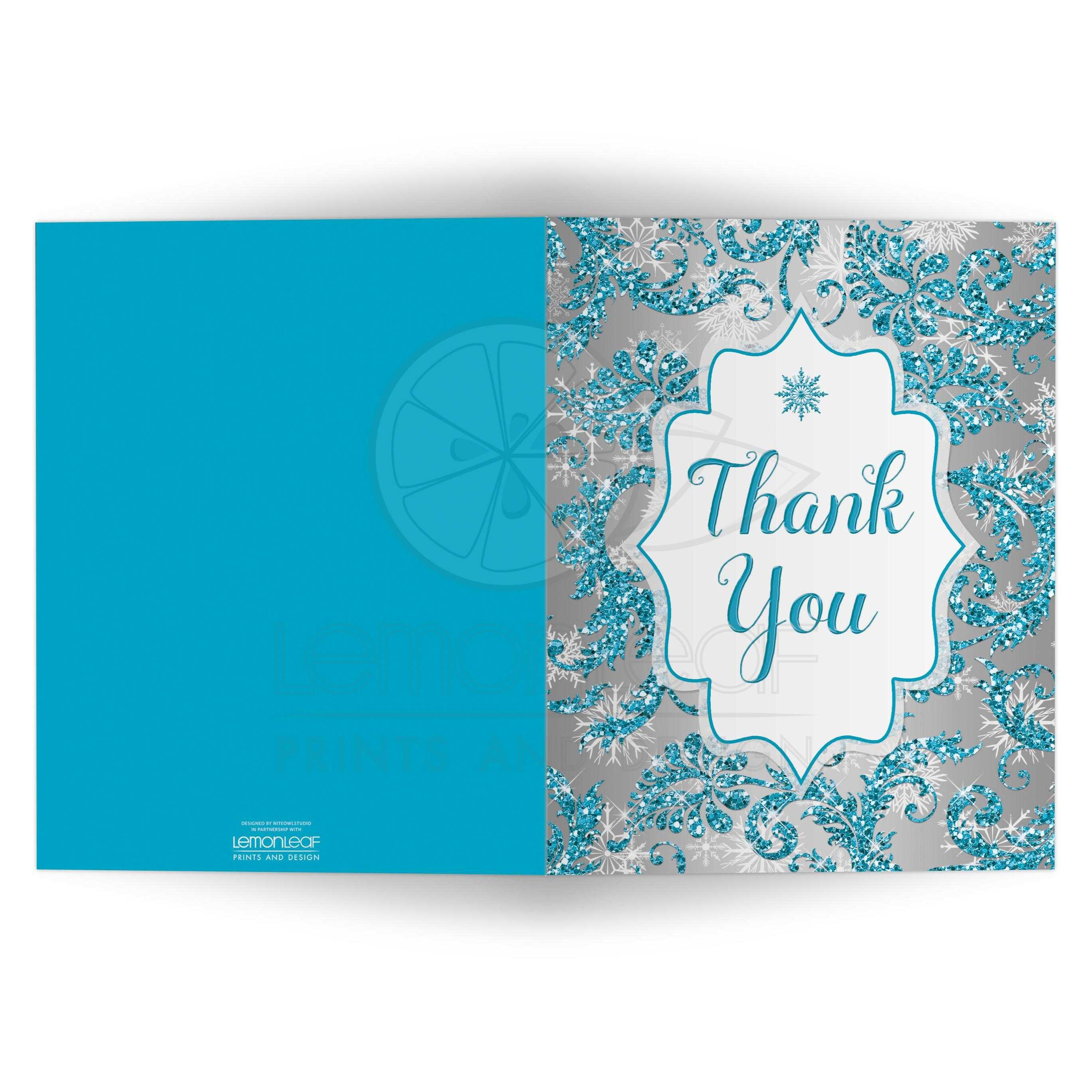 Quinceanera Thank You Card Winter Wonderland Turquoise Silver