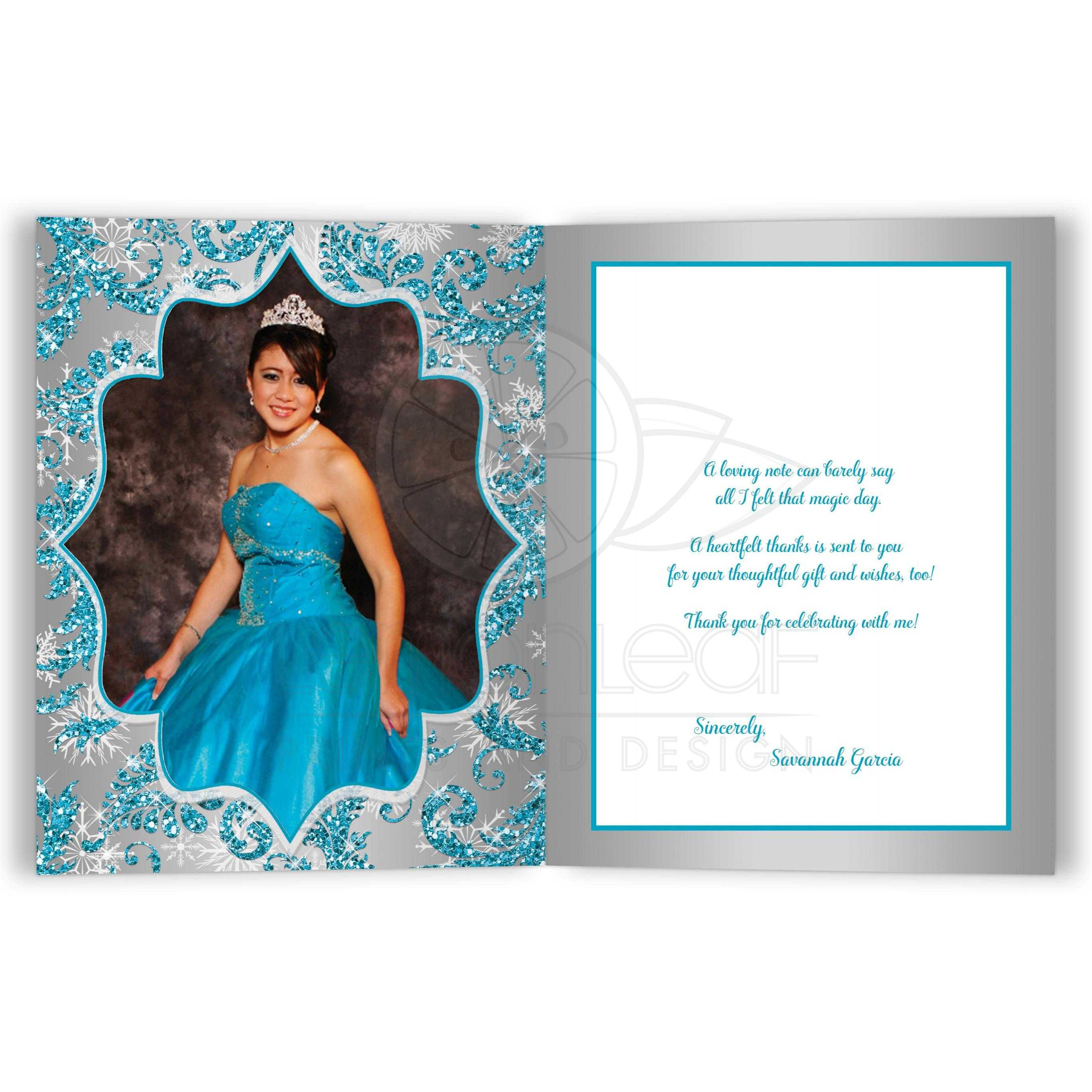 Quinceañera PHOTO Thank You Card | Winter Wonderland ...