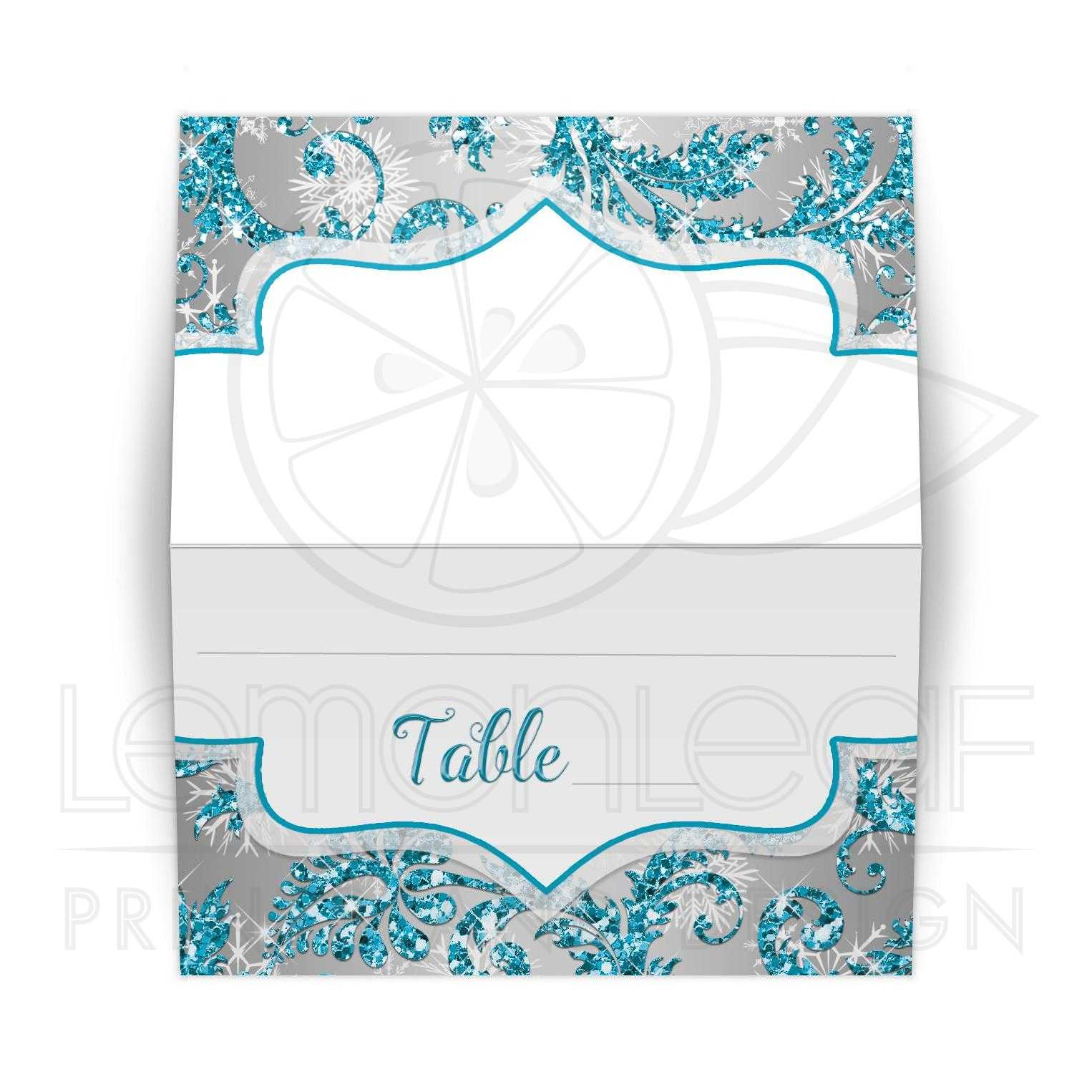 Folded quinceaera place card or escort card winter wonderland great winter wonderland quinceanera birthday party reception place card in turquoise blue silver and white bookmarktalkfo Gallery