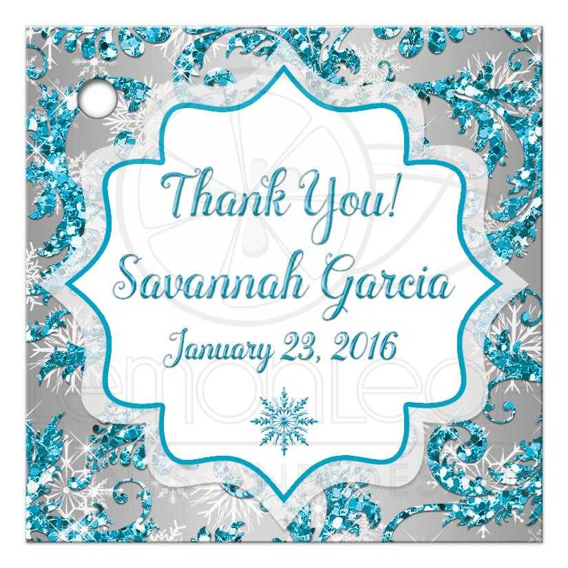 2 5 Square Quinceanera Favor Tag 2 Winter Wonderland Turquoise Silver White Snowflakes