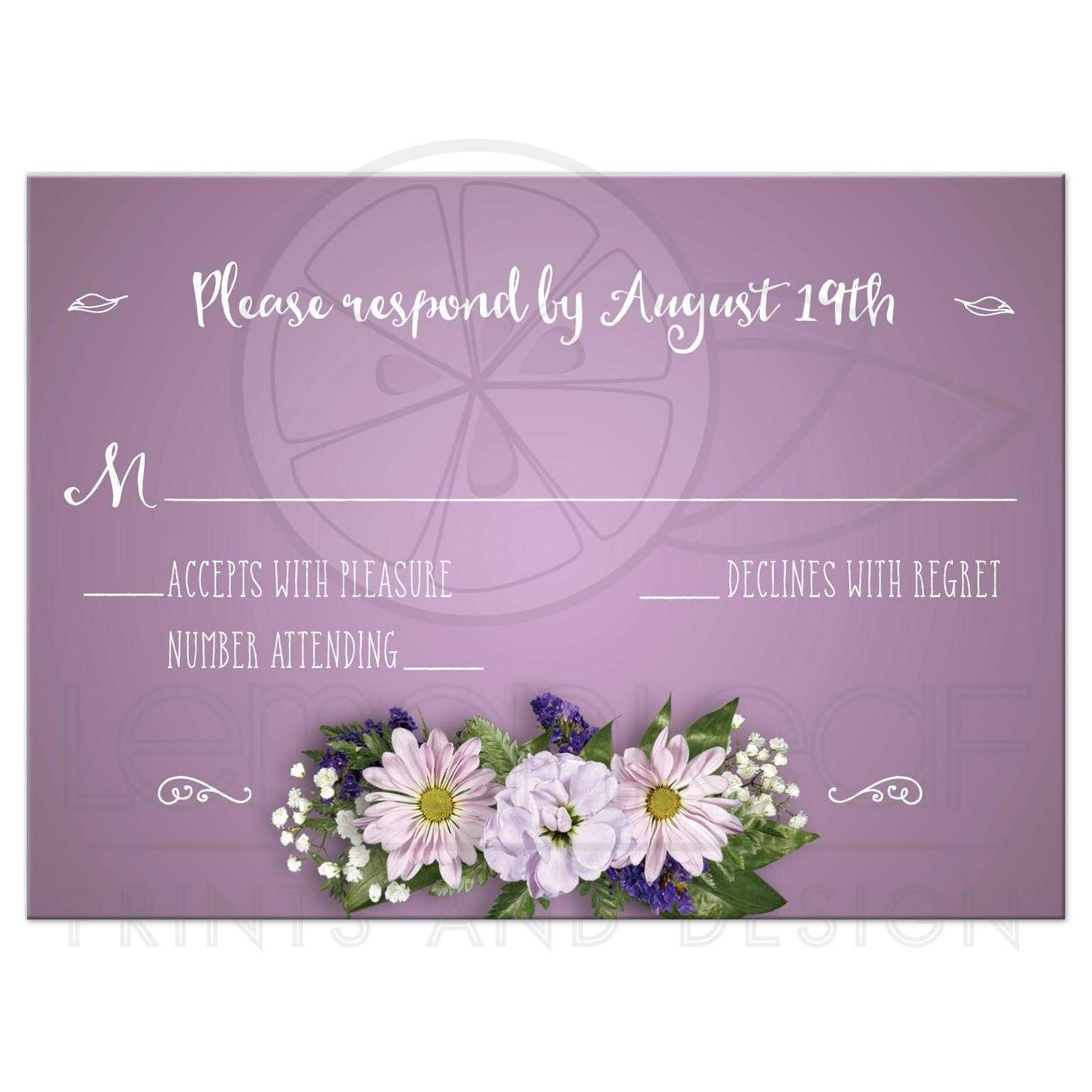 Wedding Reply Rsvp Card Purple Flower Bouquet