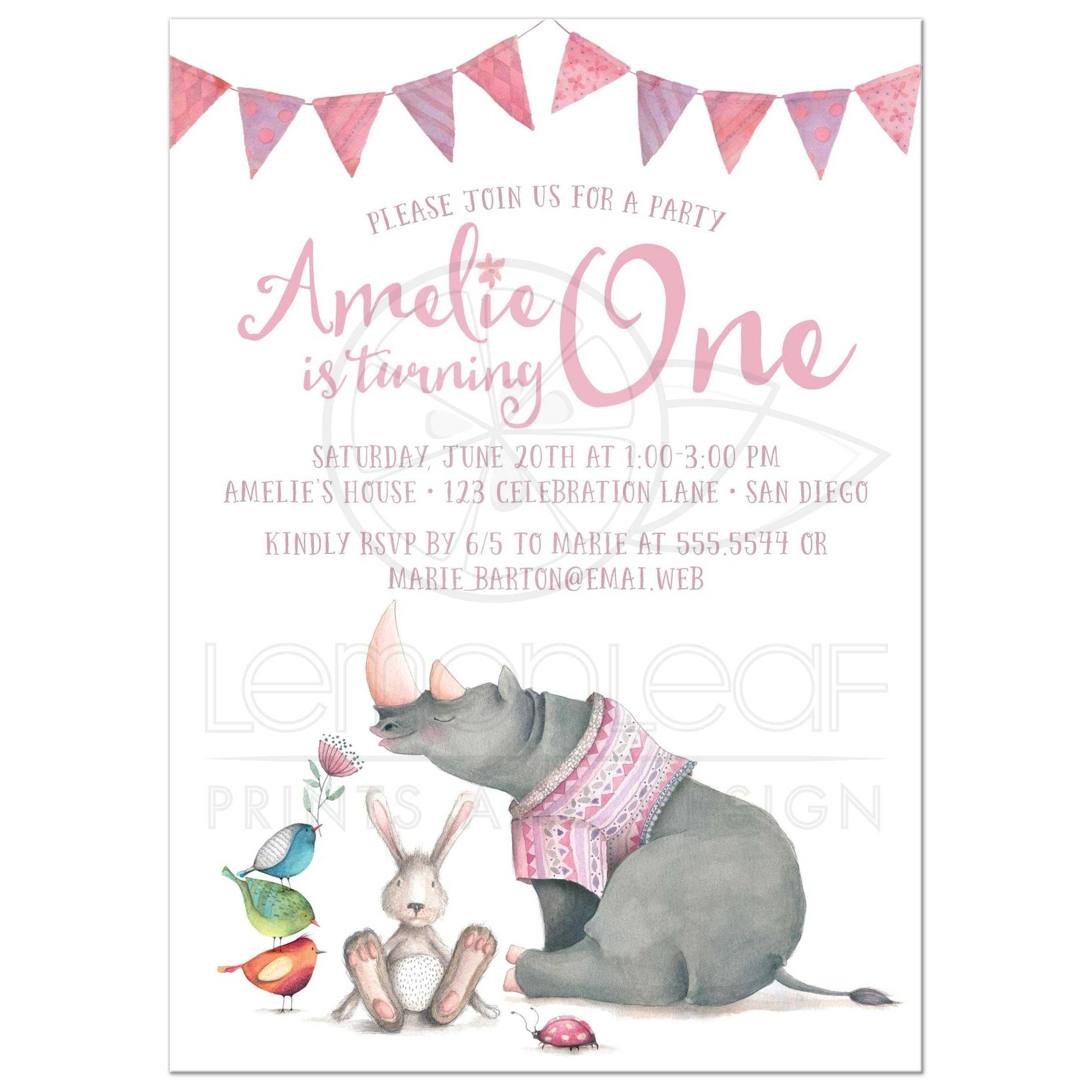 Baby Animal Friends 1st Birthday Party Invitation