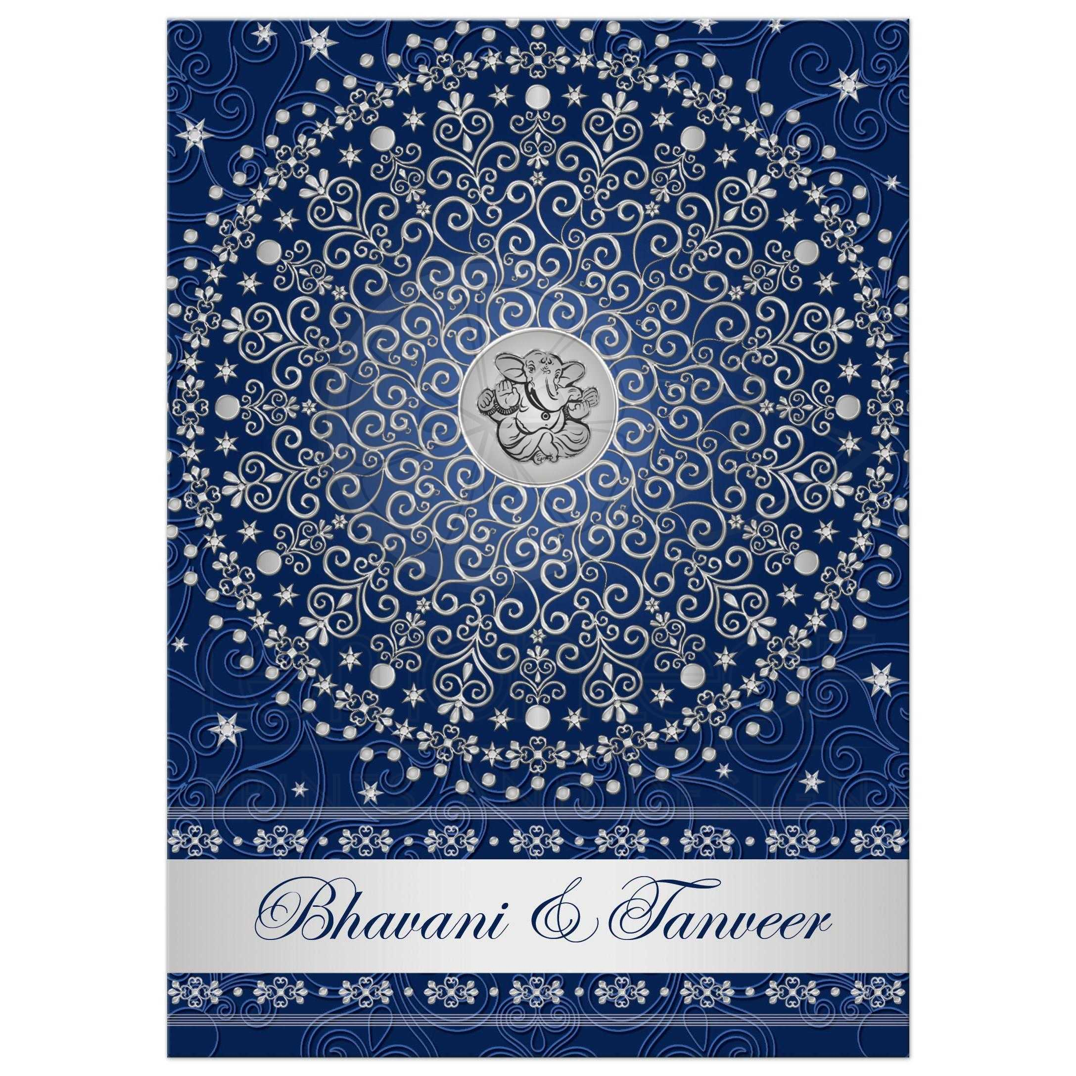 Best Navy Blue And Silver Wedding Invitation With Scrolls, Stars, Dots, ...
