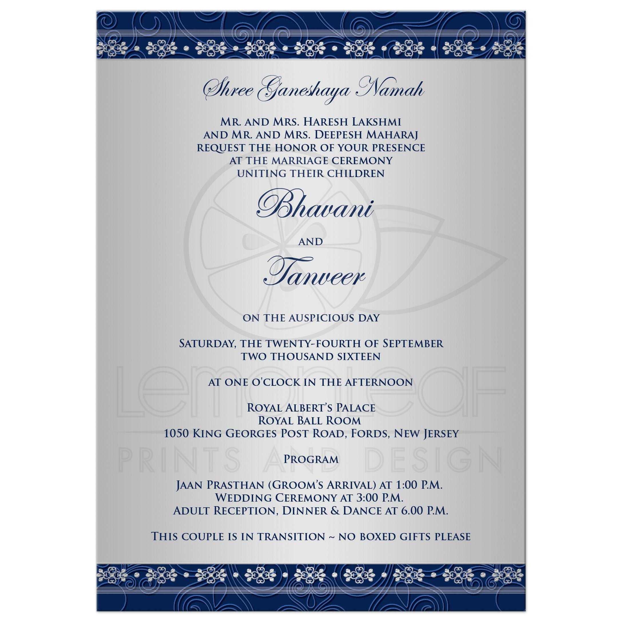 Wedding Invitation | Hindu Ganesh Blue, Silver Scrolls, Stars