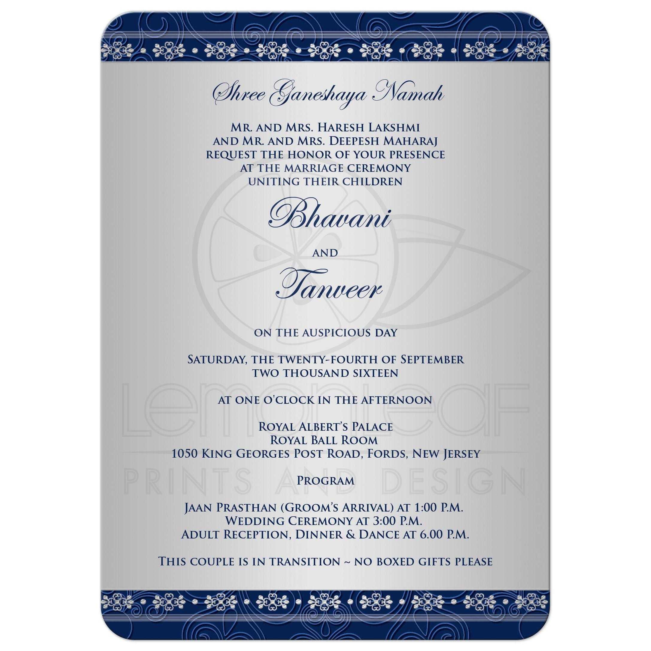 Silver Indian Wedding Invitation: Hindu Ganesh Blue, Silver Scrolls, Stars