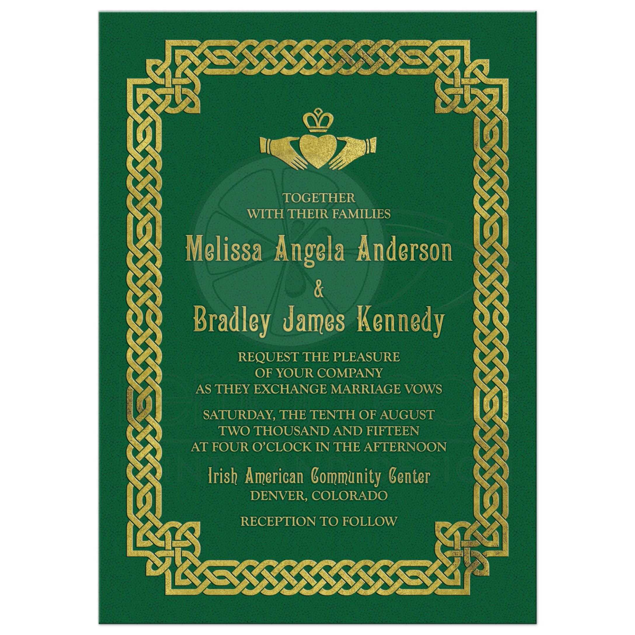 Irish celtic wedding invitation green gold claddagh knot green and gold irish celtic love knot and claddagh wedding invitation front monicamarmolfo Image collections