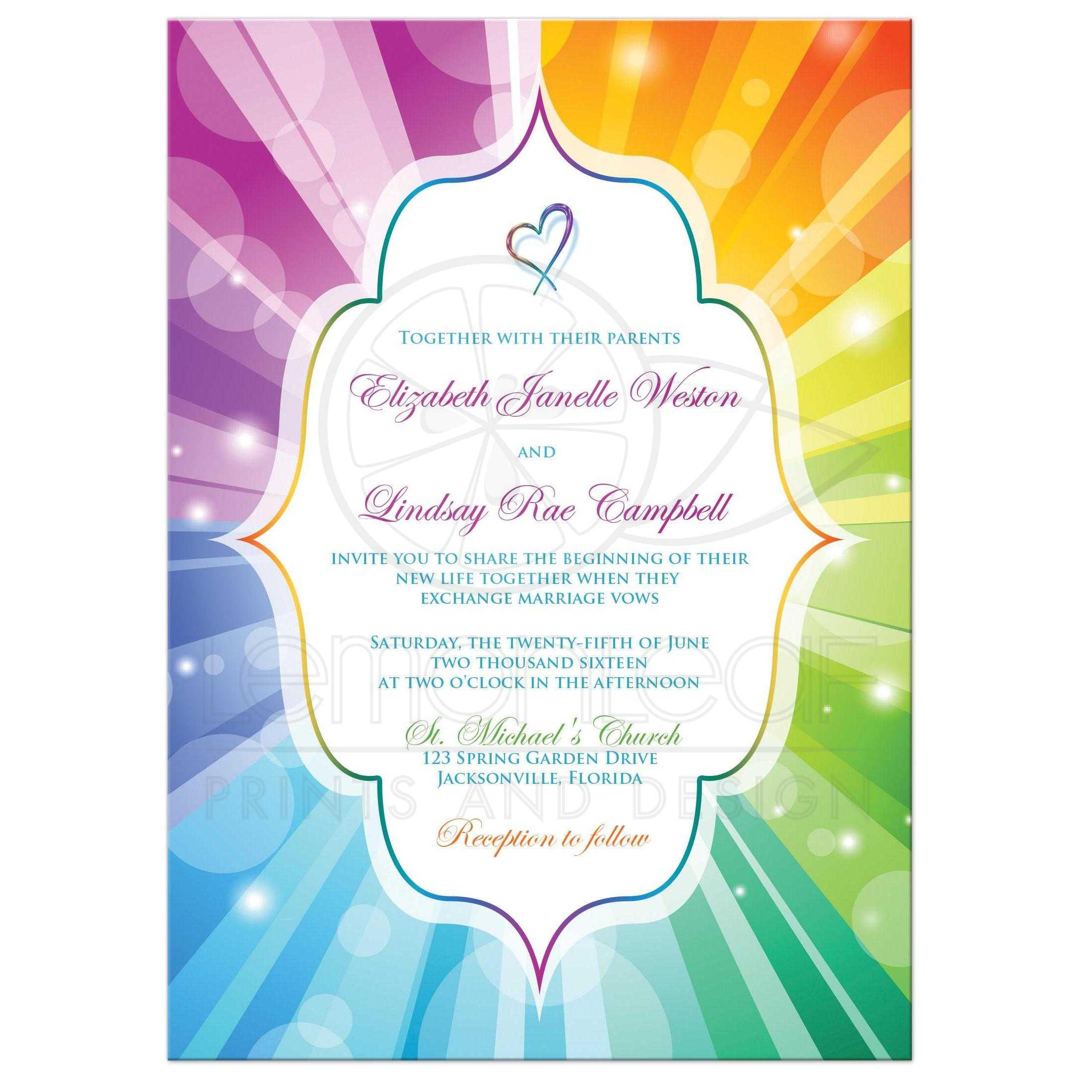Superior Best Rainbow Striped Sunburst Wedding Invitations With A Heart ...