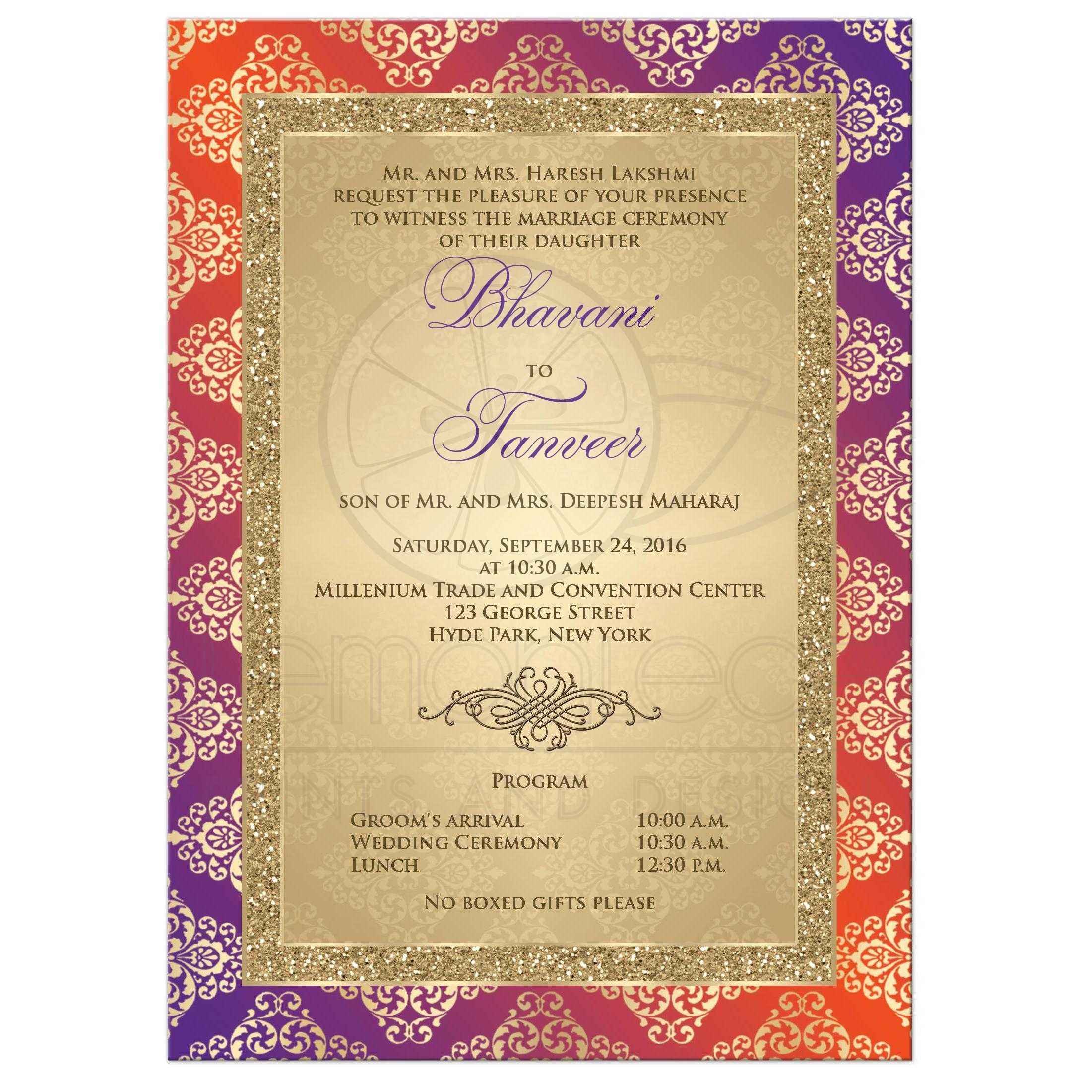 Best Purple And Orange Damask Wedding Invitation With Gold Glitter And  Scroll ...