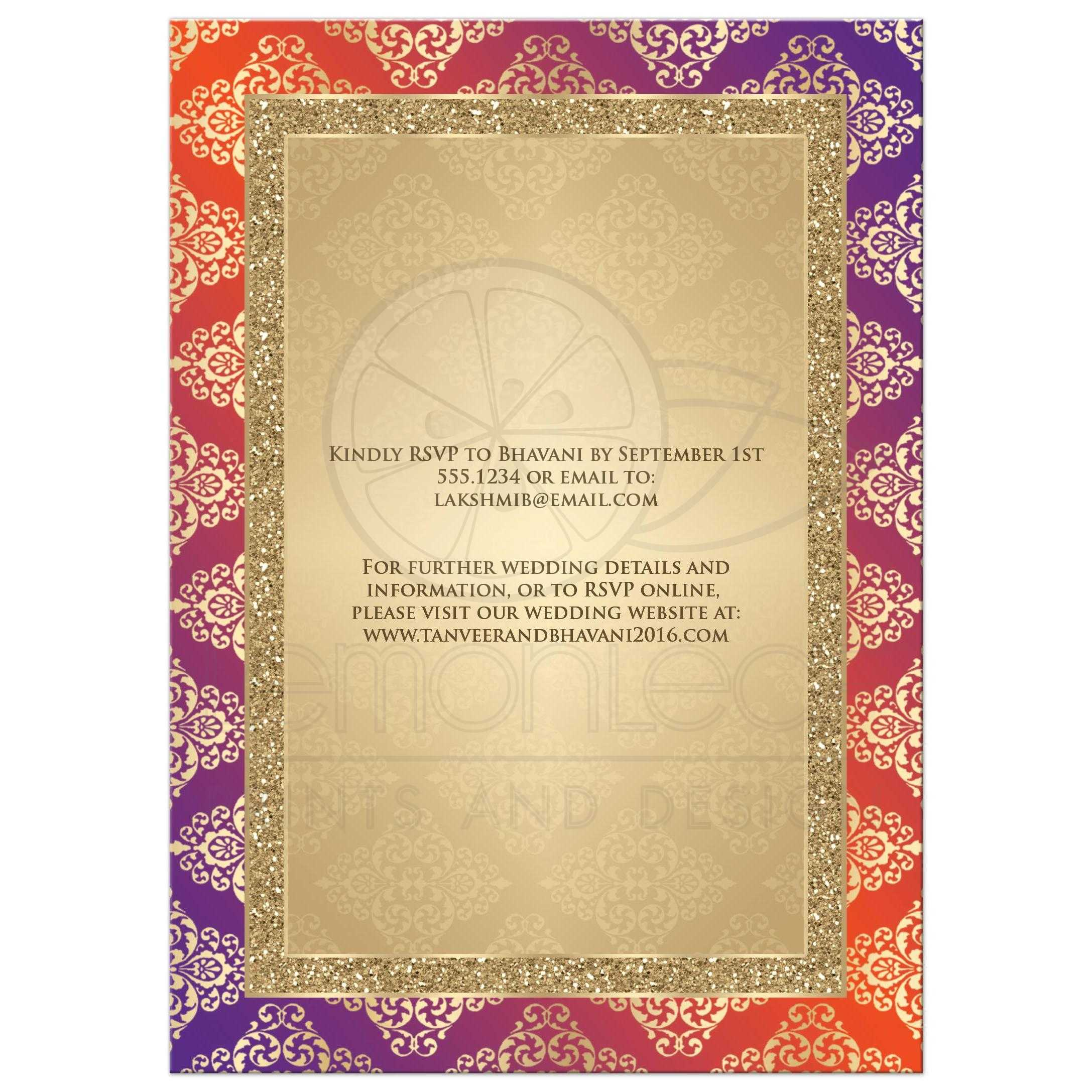 Wedding Invitation | Orange, Purple, Gold Damask | Faux Gold Glitter ...