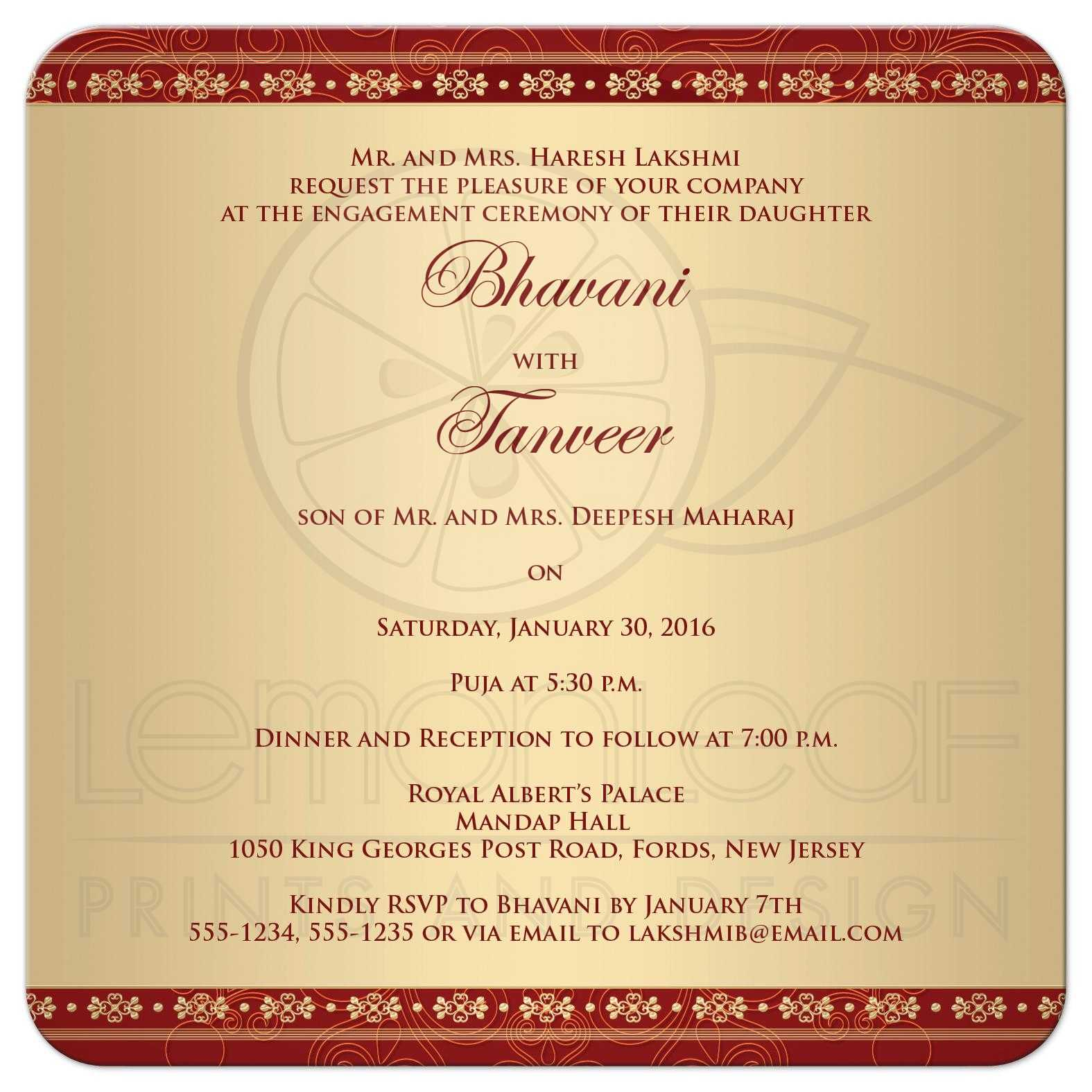 Hindu Engagement Invitation Cards As Awesome Invitations Design  Engagement Invitation Format