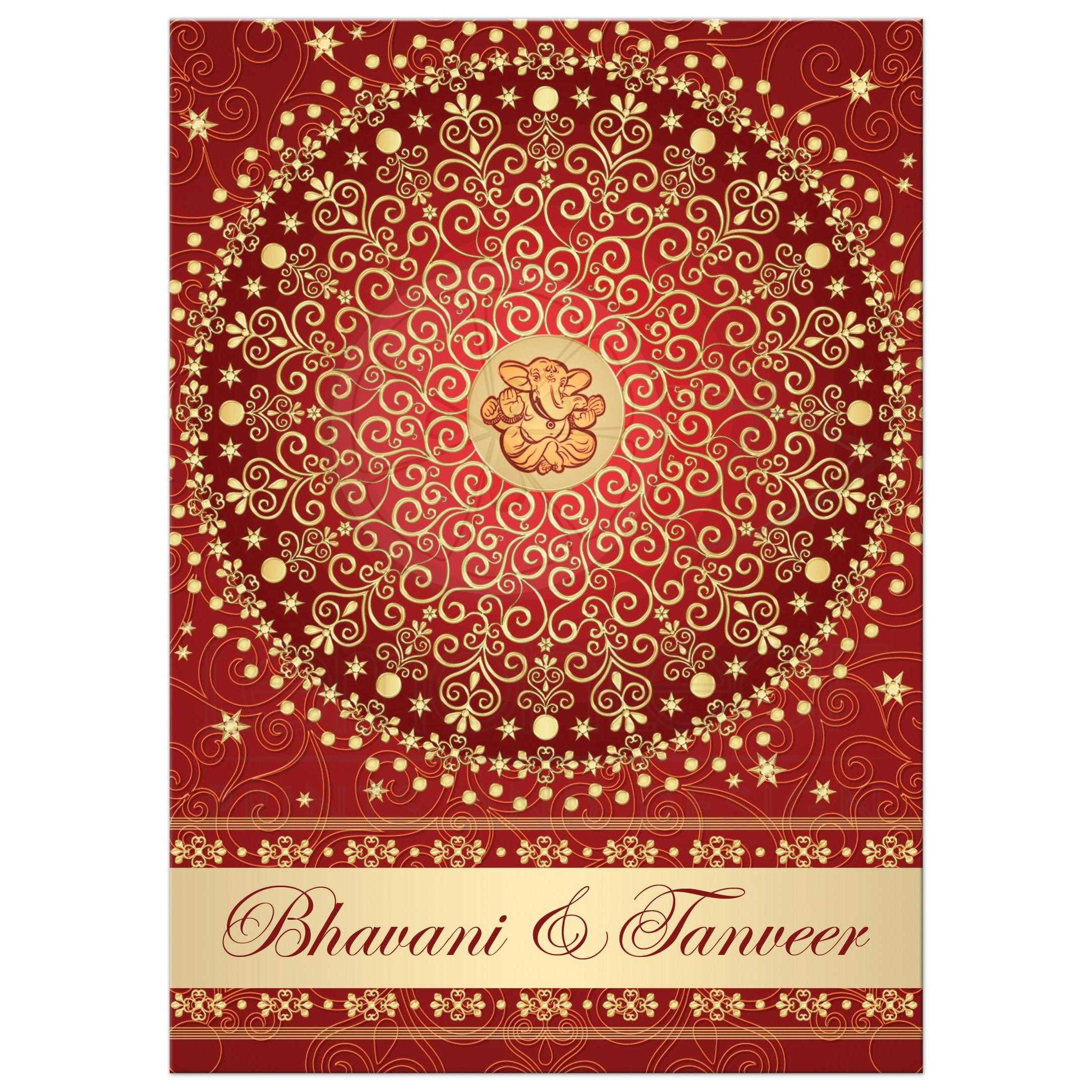Best Red, Orange And Gold Wedding Ceremony Invitation With Scrolls, Stars,  Dots, ...