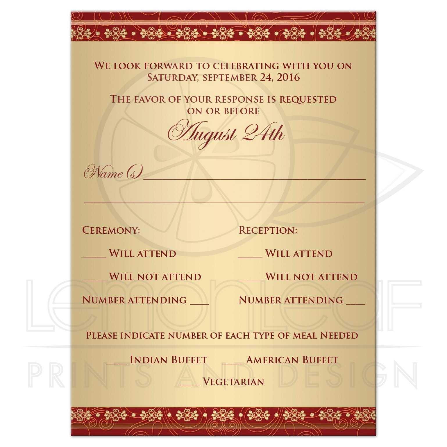 wedding rsvp card or enclosure card  hindu ganesh red
