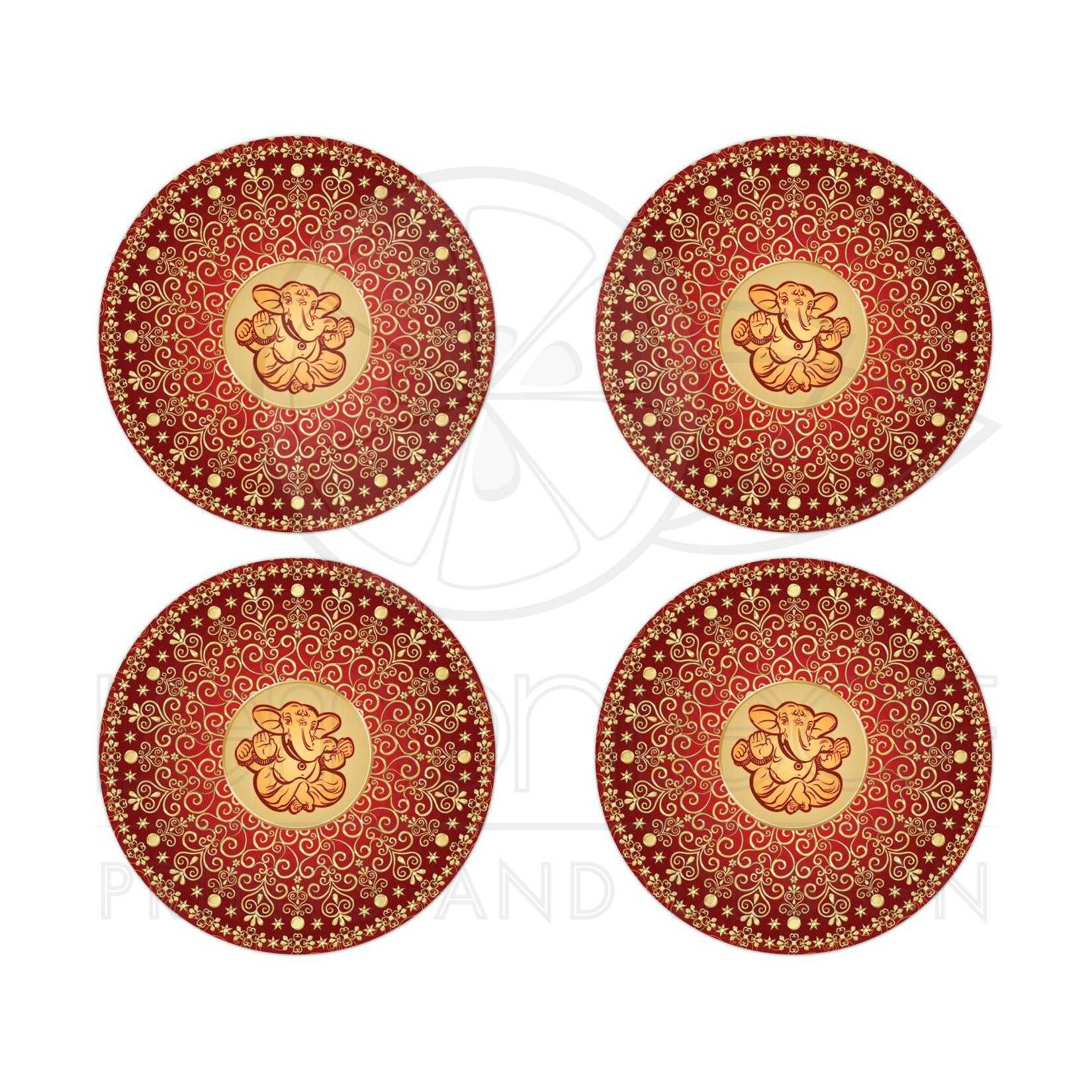 Best Red Orange And Gold Ethnic Wedding Envelope Seals Or Favor Stickers With Scrolls