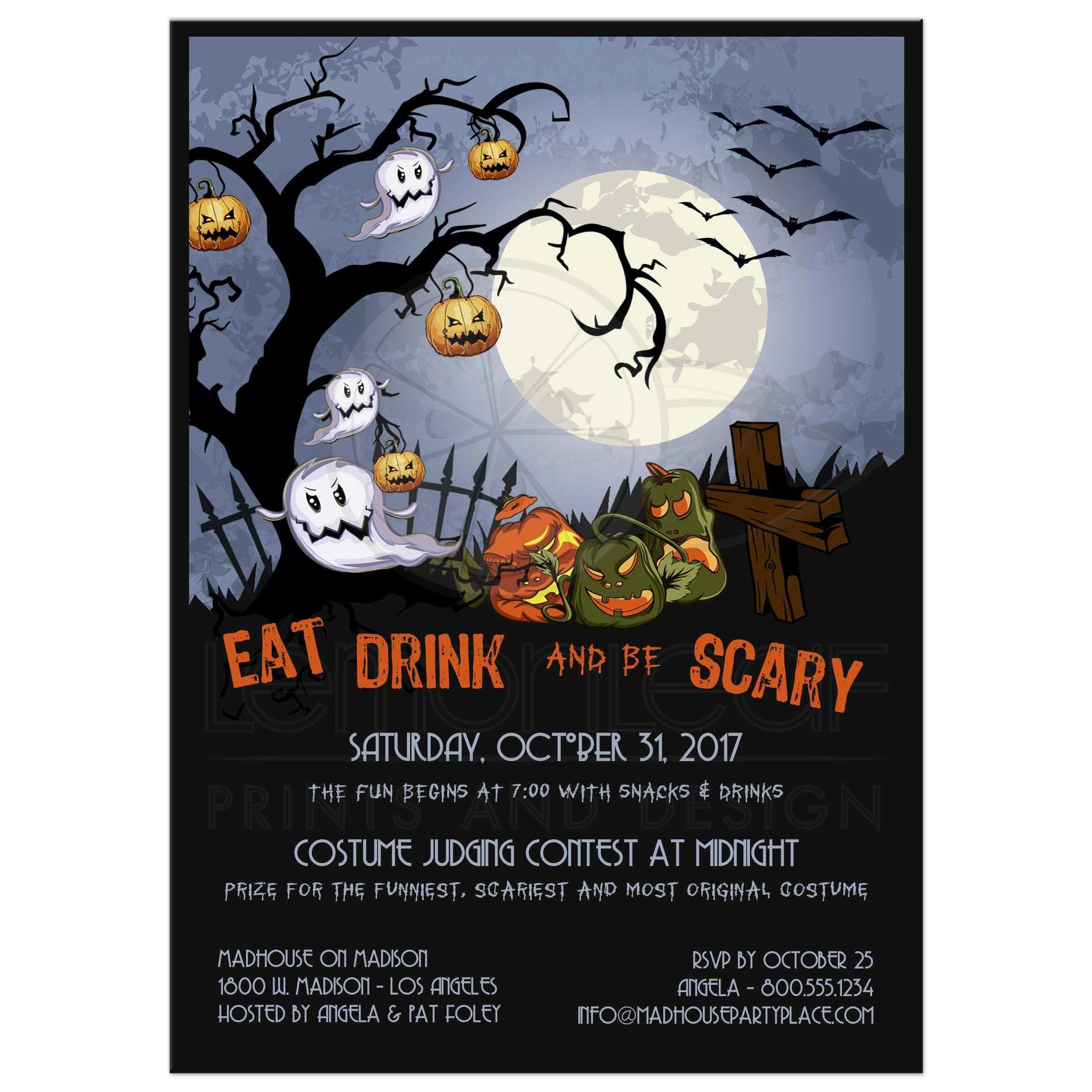 Eat Drink and Be ScaryA Spooky Graveyard Halloween Party Invitation
