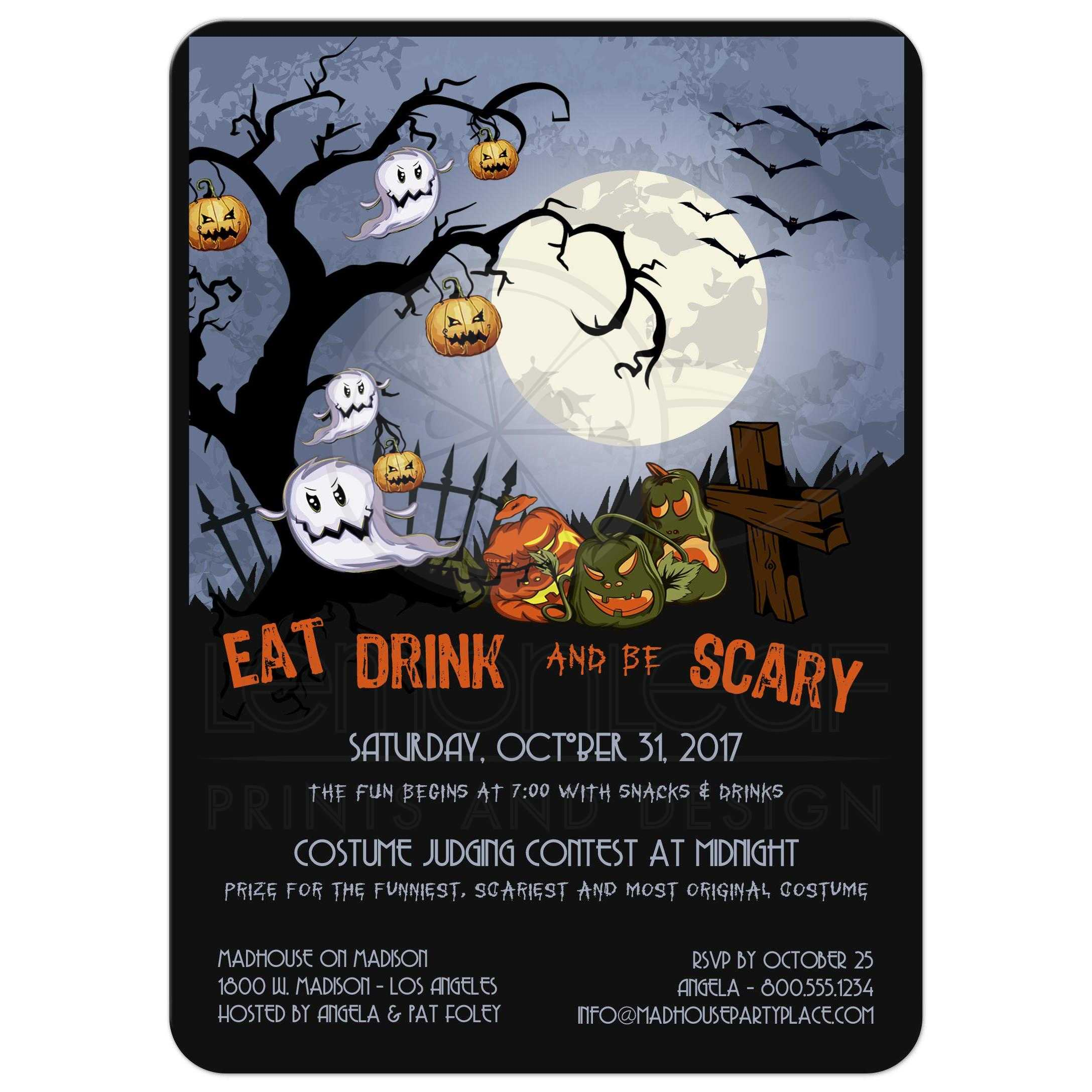 Eat Drink and Be Scary-A Spooky Graveyard Halloween Party Invitation