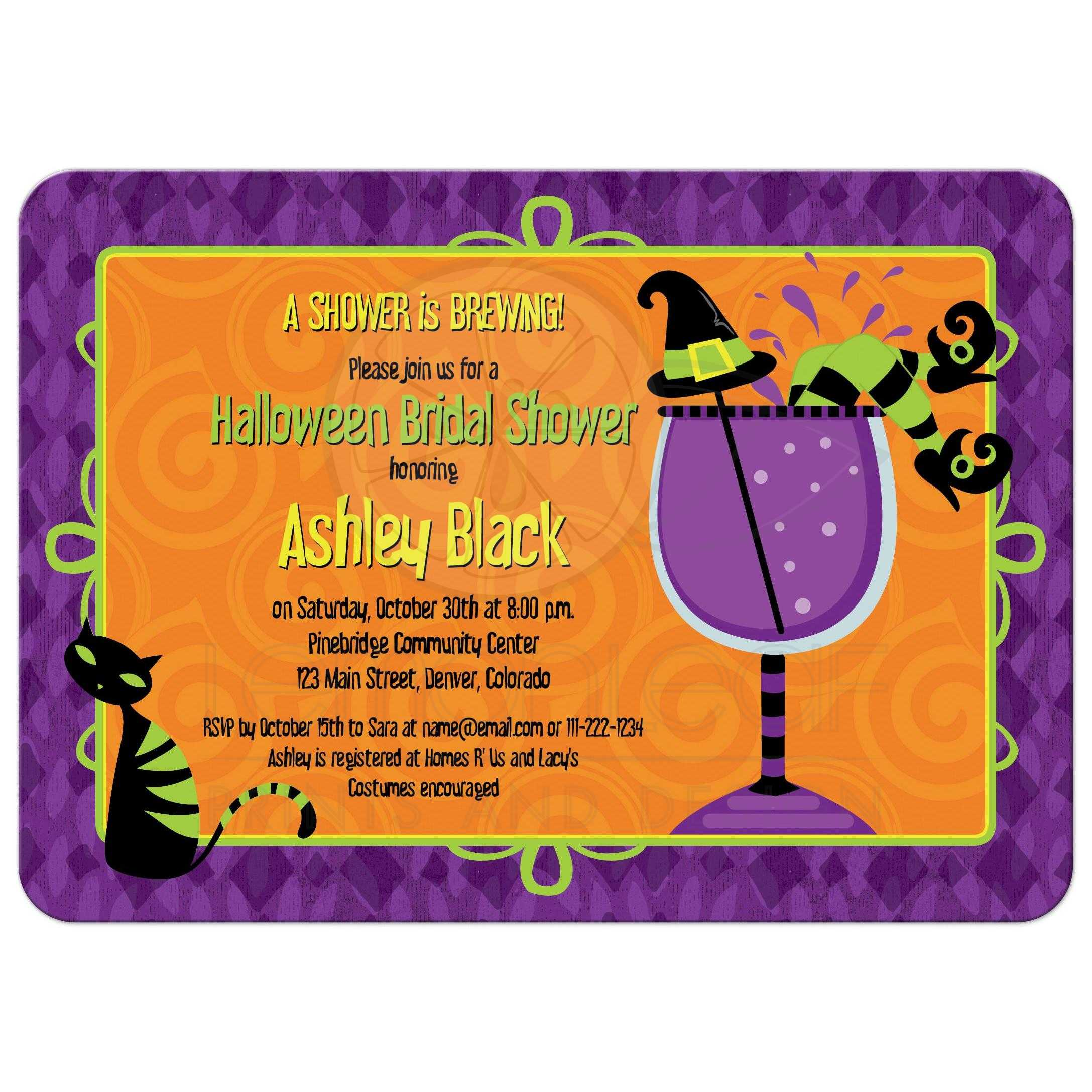 Cocktail Party Name Ideas Part - 24: ... Witchesu0027 Brew Halloween Bridal Shower Cocktail Party Invitation