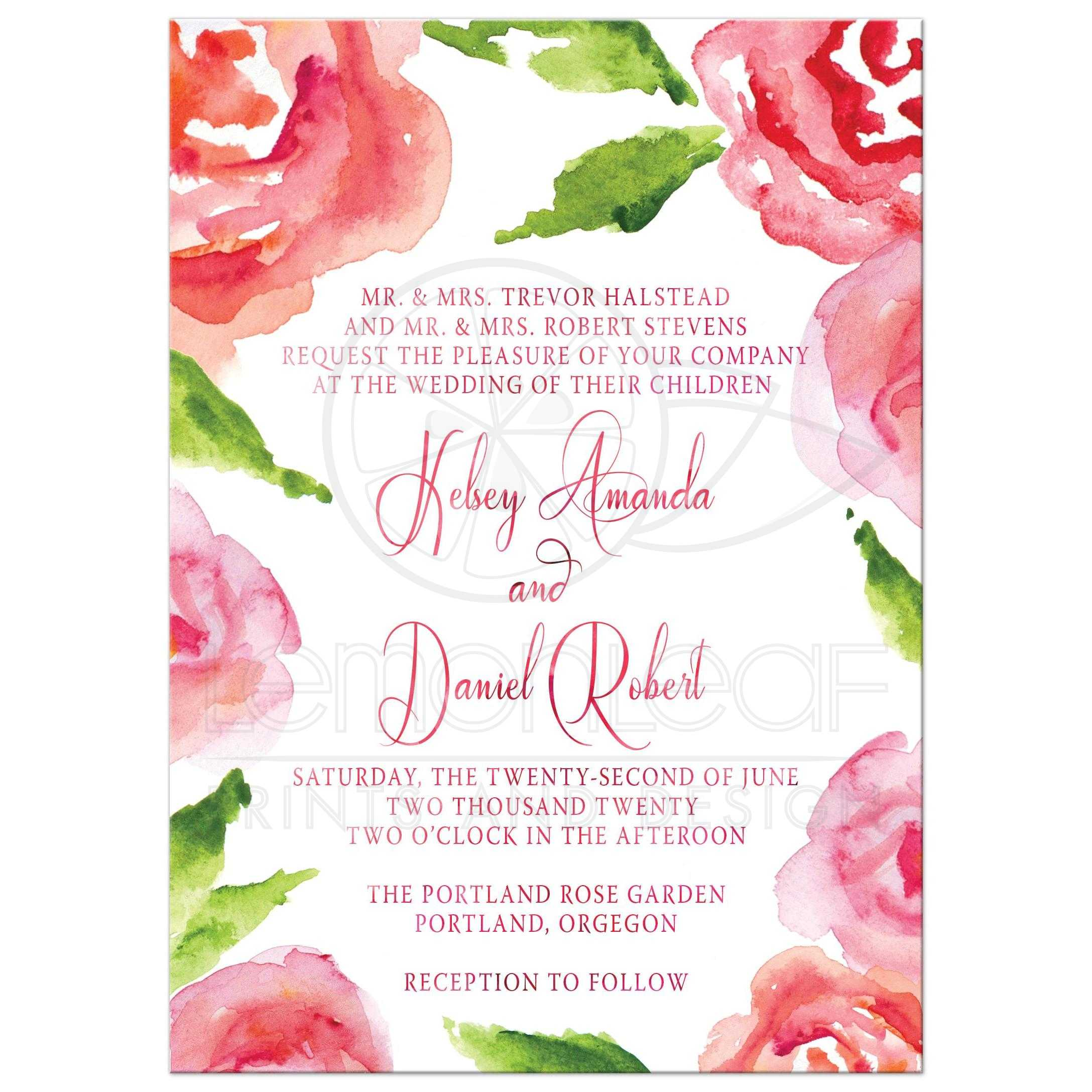 wedding invitations watercolor rose garden