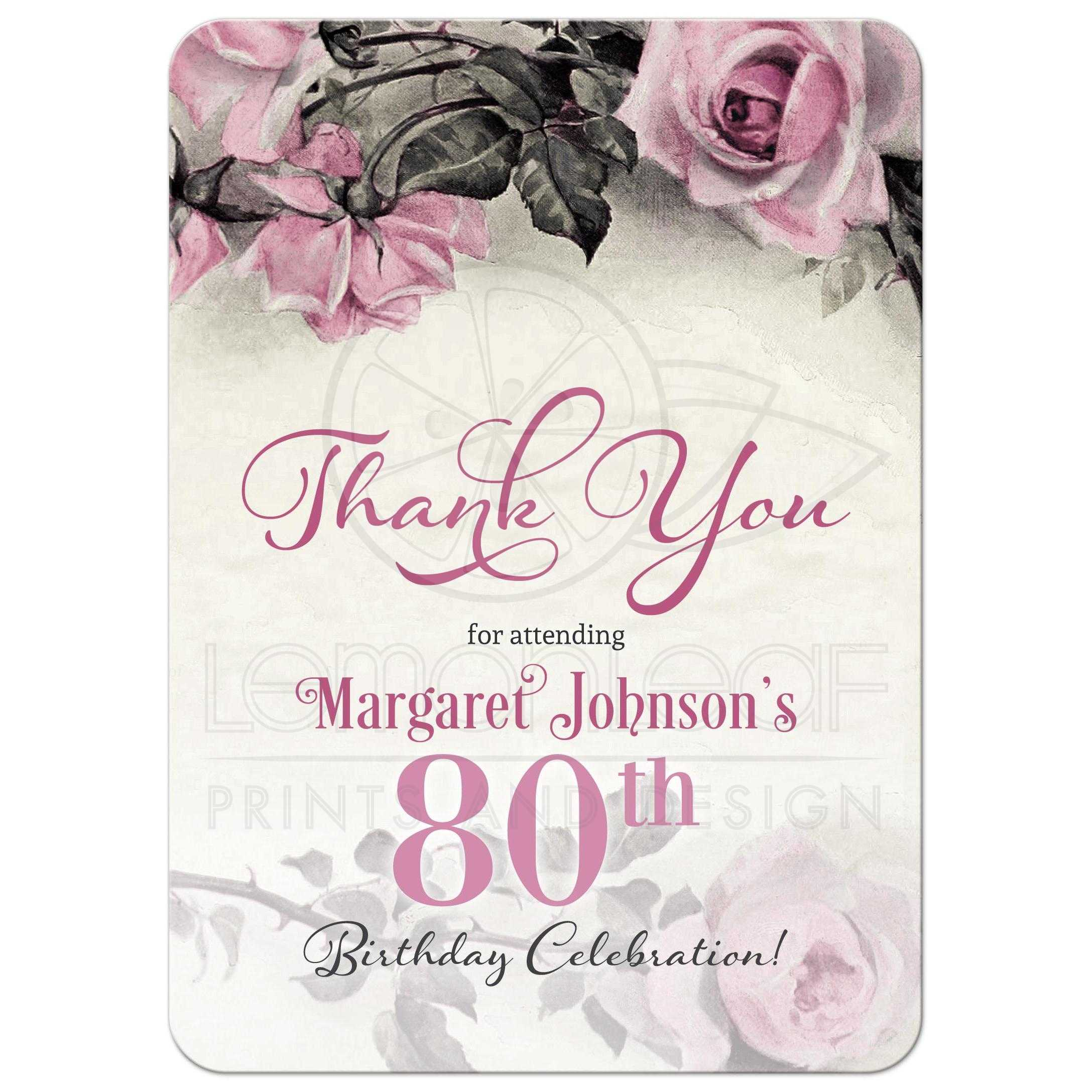80th birthday thank you card vintage pink grey rose grey gray and ivory rose 80th birthday party thank izmirmasajfo