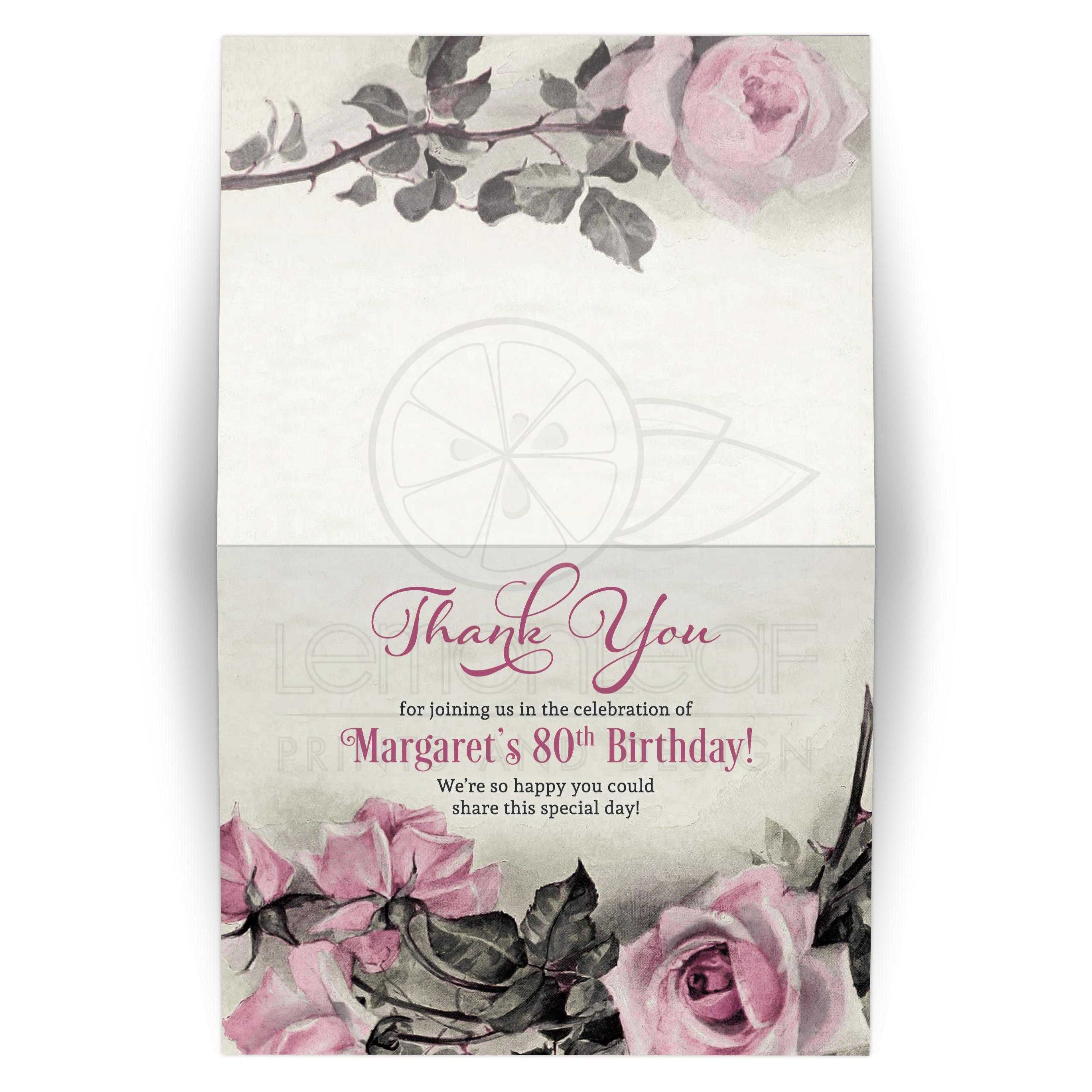 80th birthday thank you card folded vintage pink grey rose vintage pink grey gray and ivory rose 80th birthday party folded thank izmirmasajfo