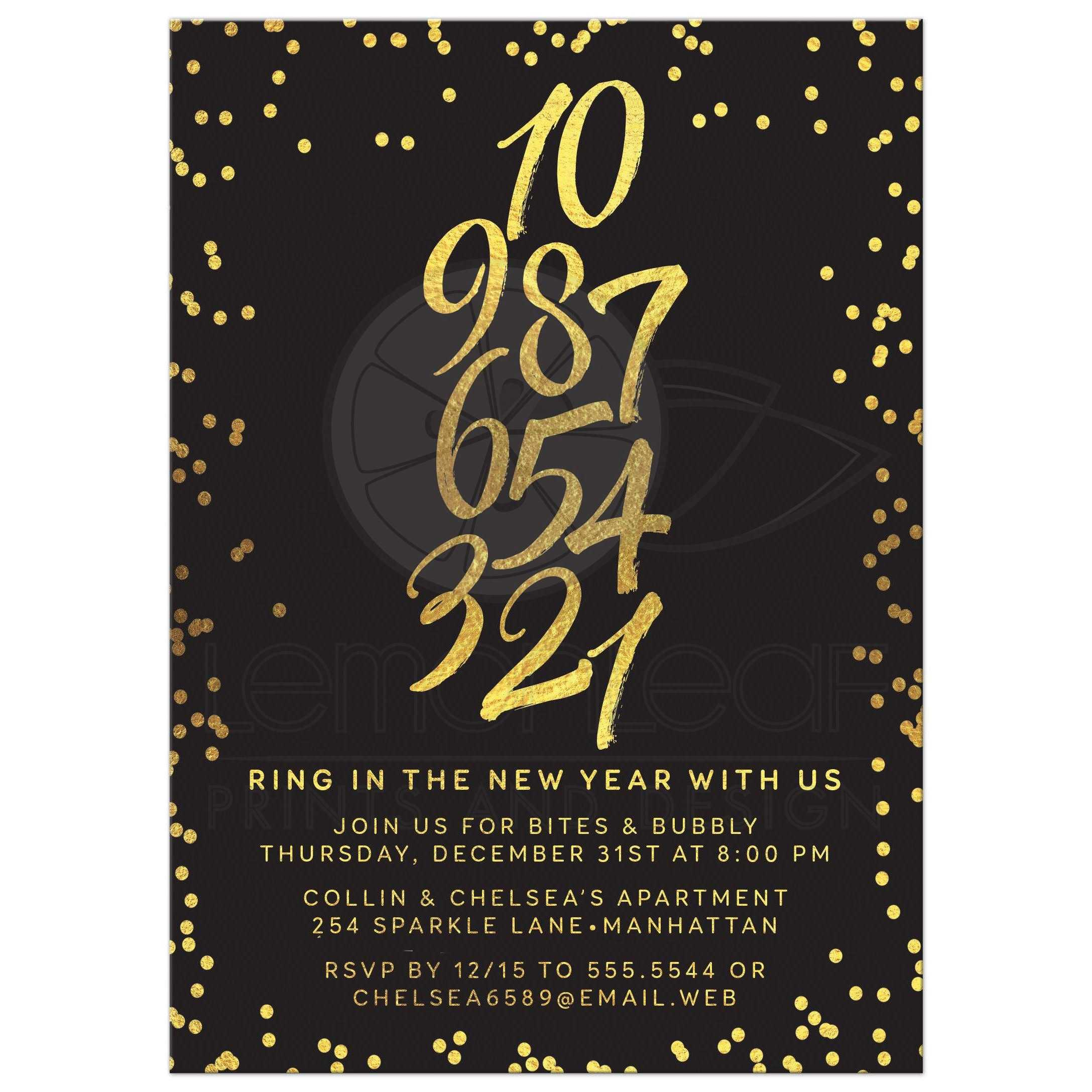 New Years Eve Party Invitation Golden Confetti Countdown