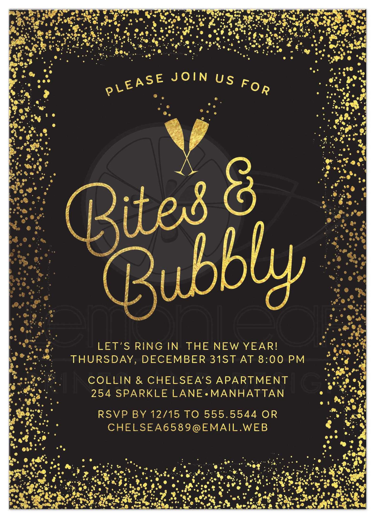 New Year S Eve Or Holiday Party Invitations Golden Confetti Bites
