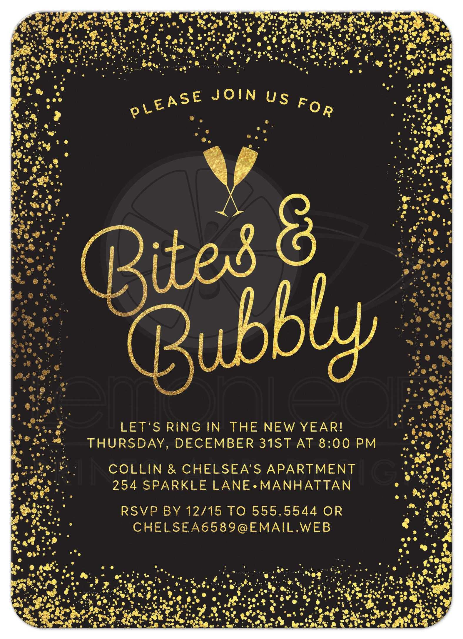 New Year S Eve Or Holiday Party Invitations Golden