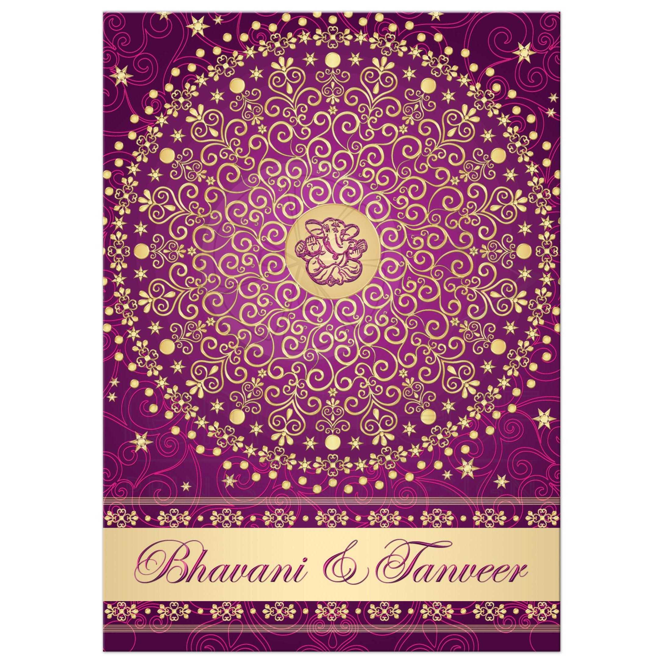 Best Purple, Fuchsia Pink And Gold Wedding Ceremony Invitation With  Scrolls, Stars, ...