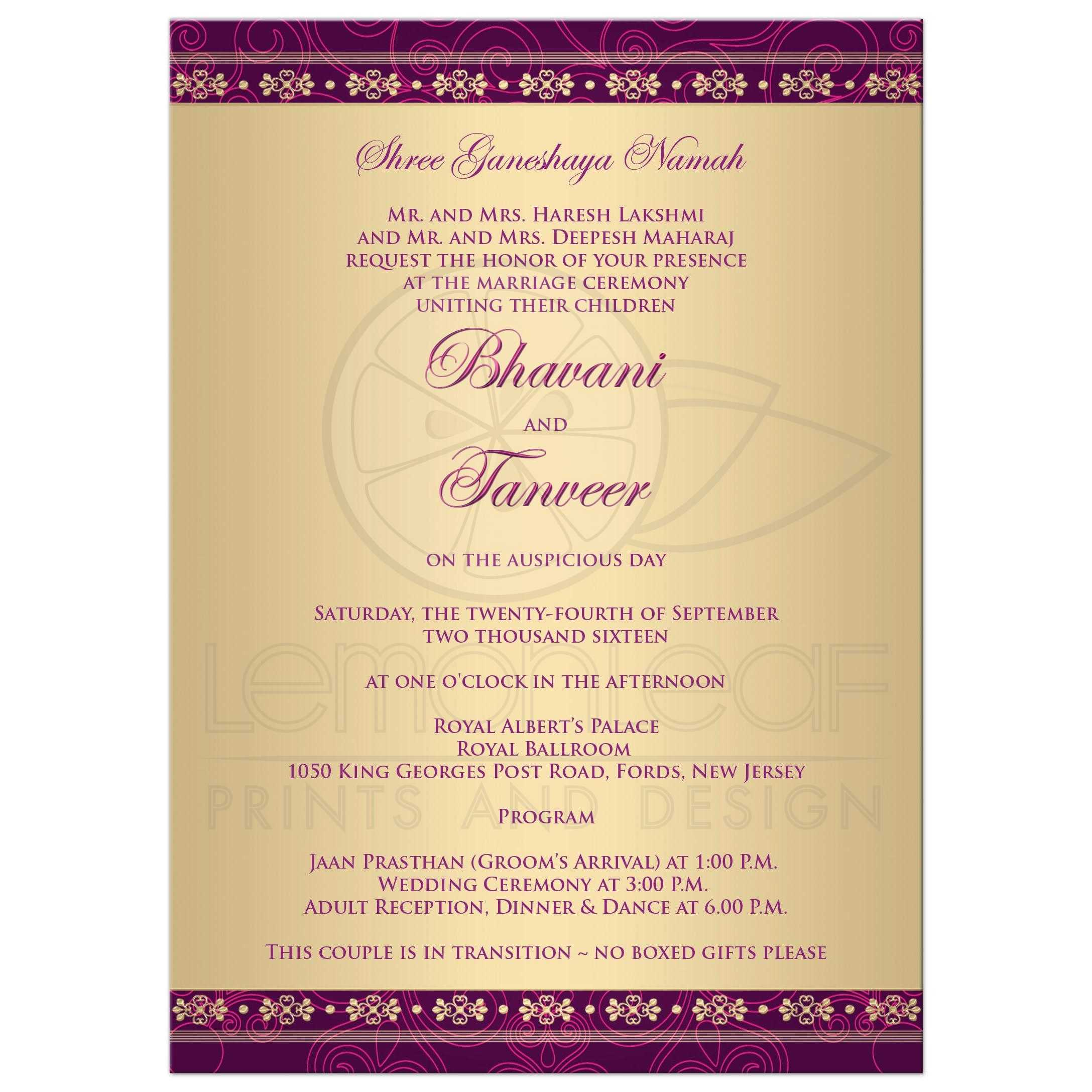 Wedding Invitation | Hindu Ganesh Purple, Fuchsia, Gold Scrolls, Stars
