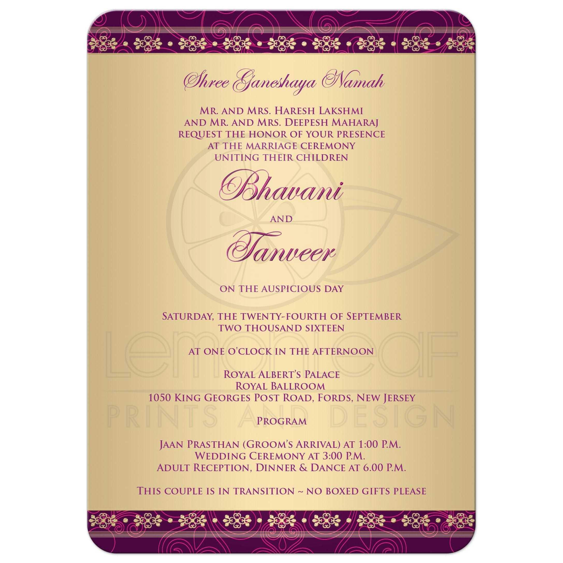 Wedding Invitation Wording In English Hindu