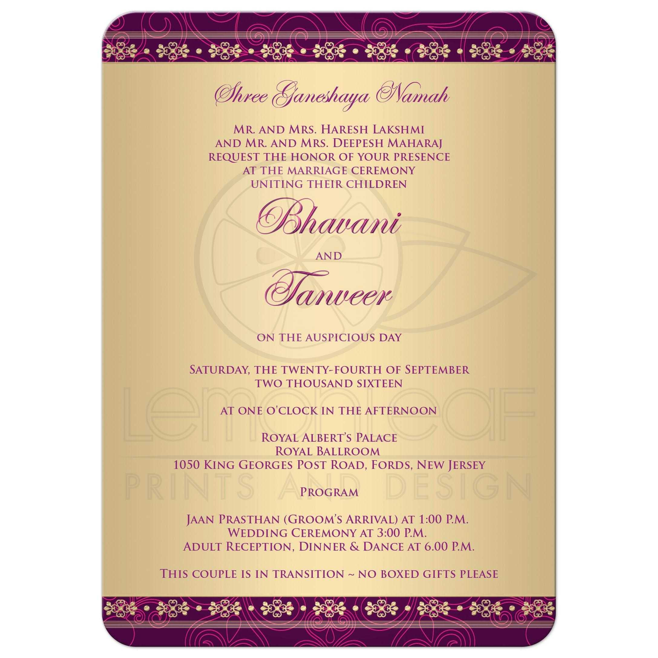 Wedding Invitation Hindu Ganesh Purple Fuchsia Gold Scrolls Stars