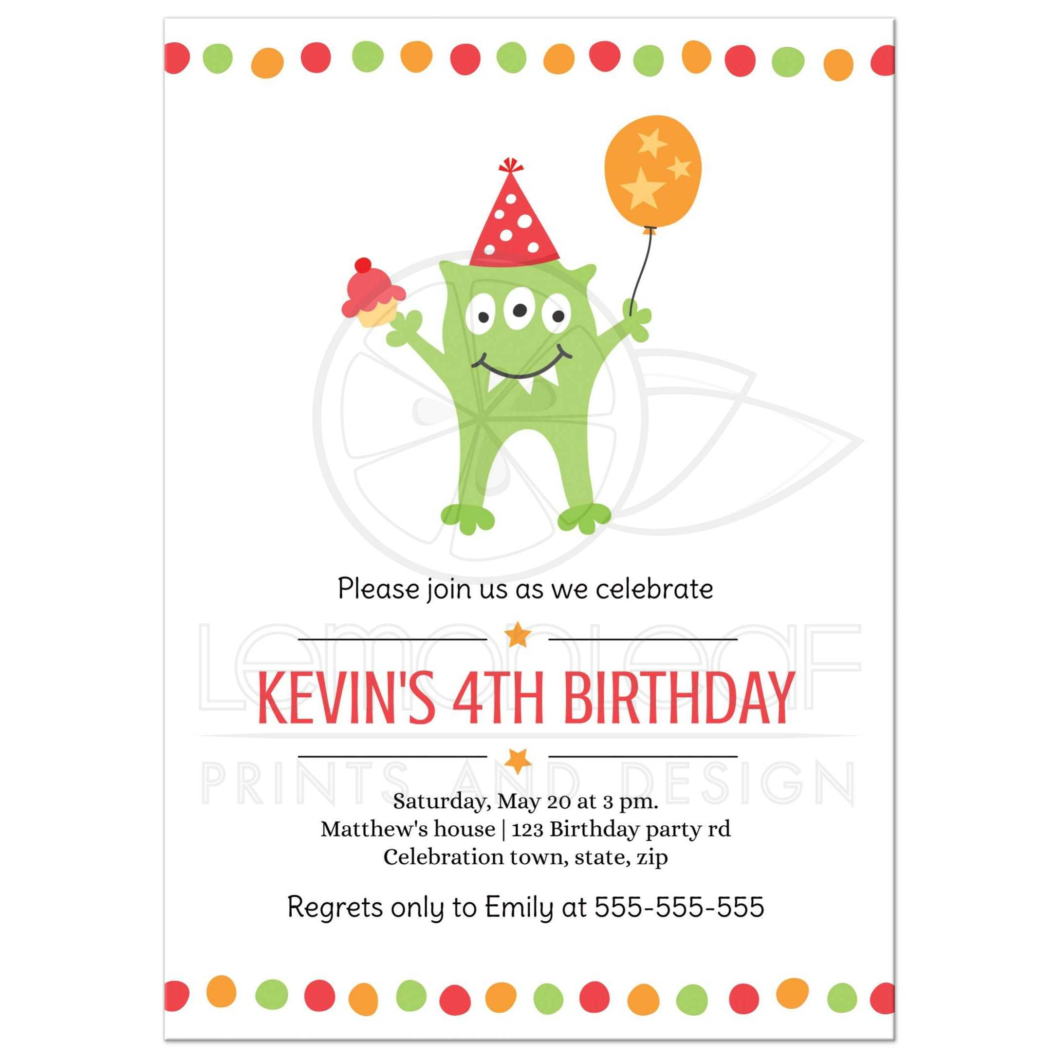 Funny monster with balloon and party hat birthday invitation for kids