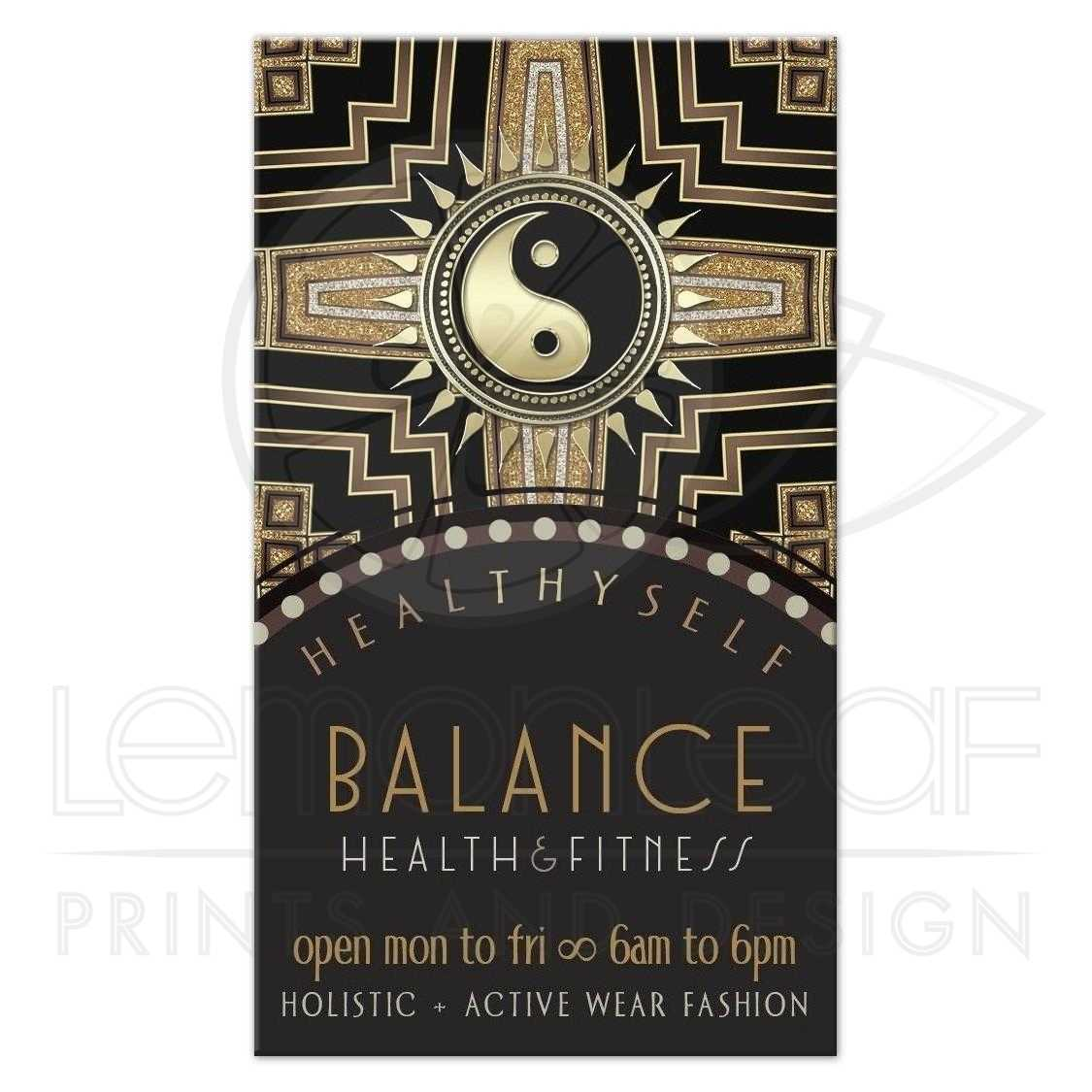 Yin Yang Black+Gold New Age Deco Business Cards