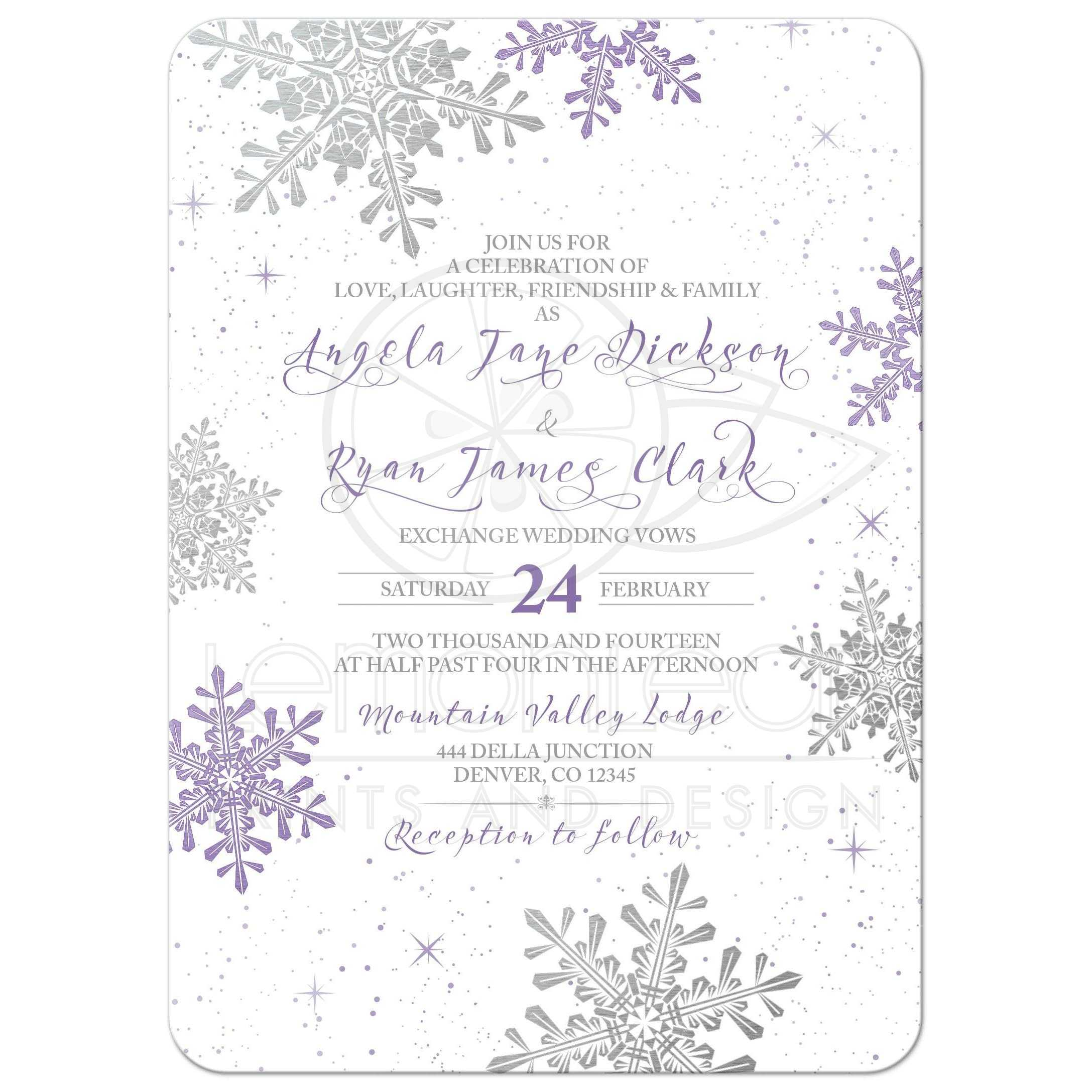 Purple Silver Snowflake Winter Wedding Invitation