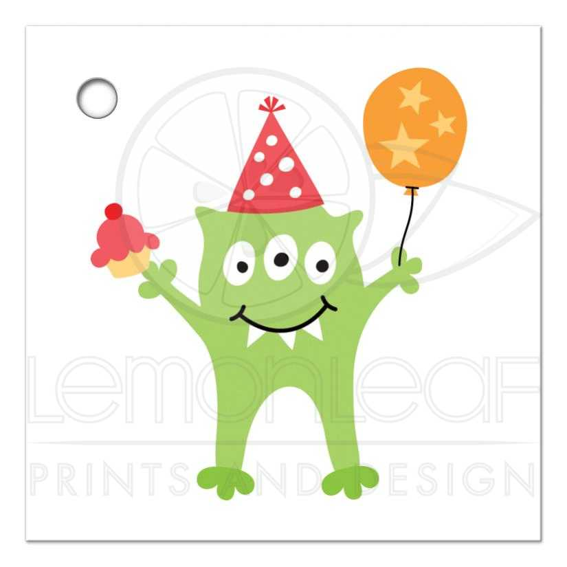 funny little monster with balloon and cupcake blank birthday thank