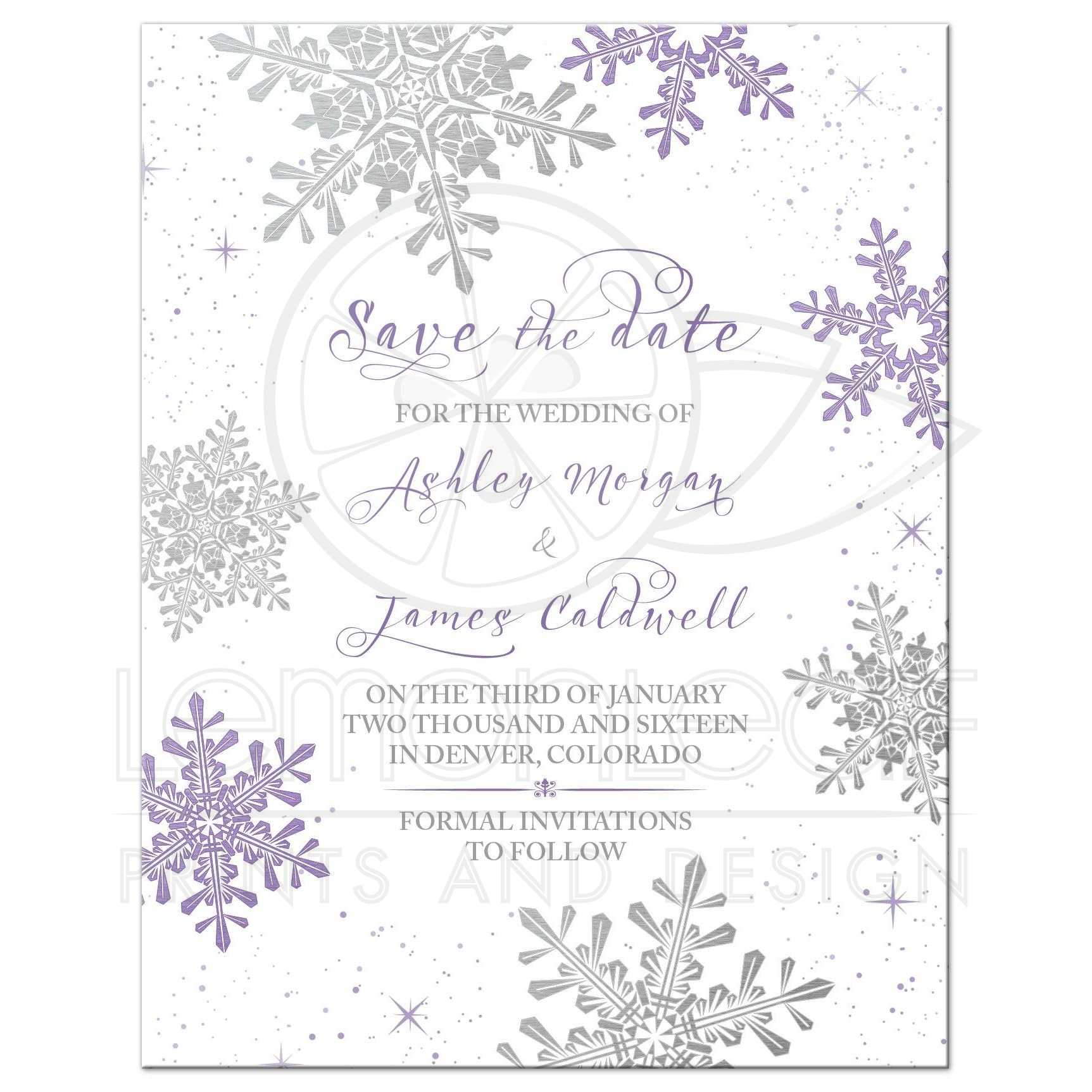 Purple Silver Snowflake Flourish Winter Wedding Save The Date Invitation Front