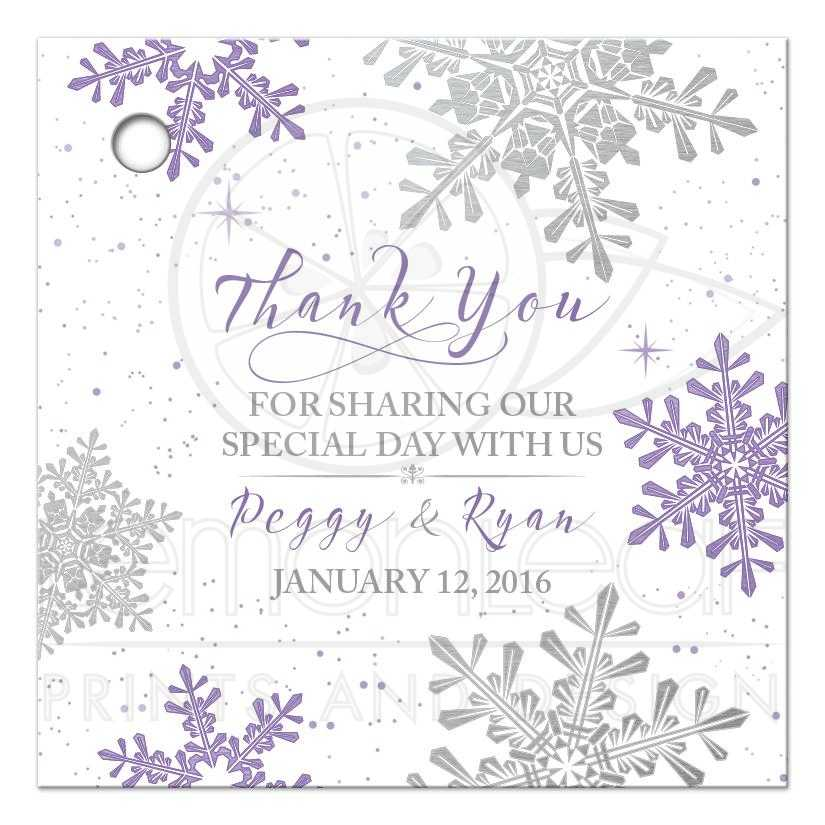 Purple Silver Snowflake Flourish Winter Wedding Personalized Favor Tags Front