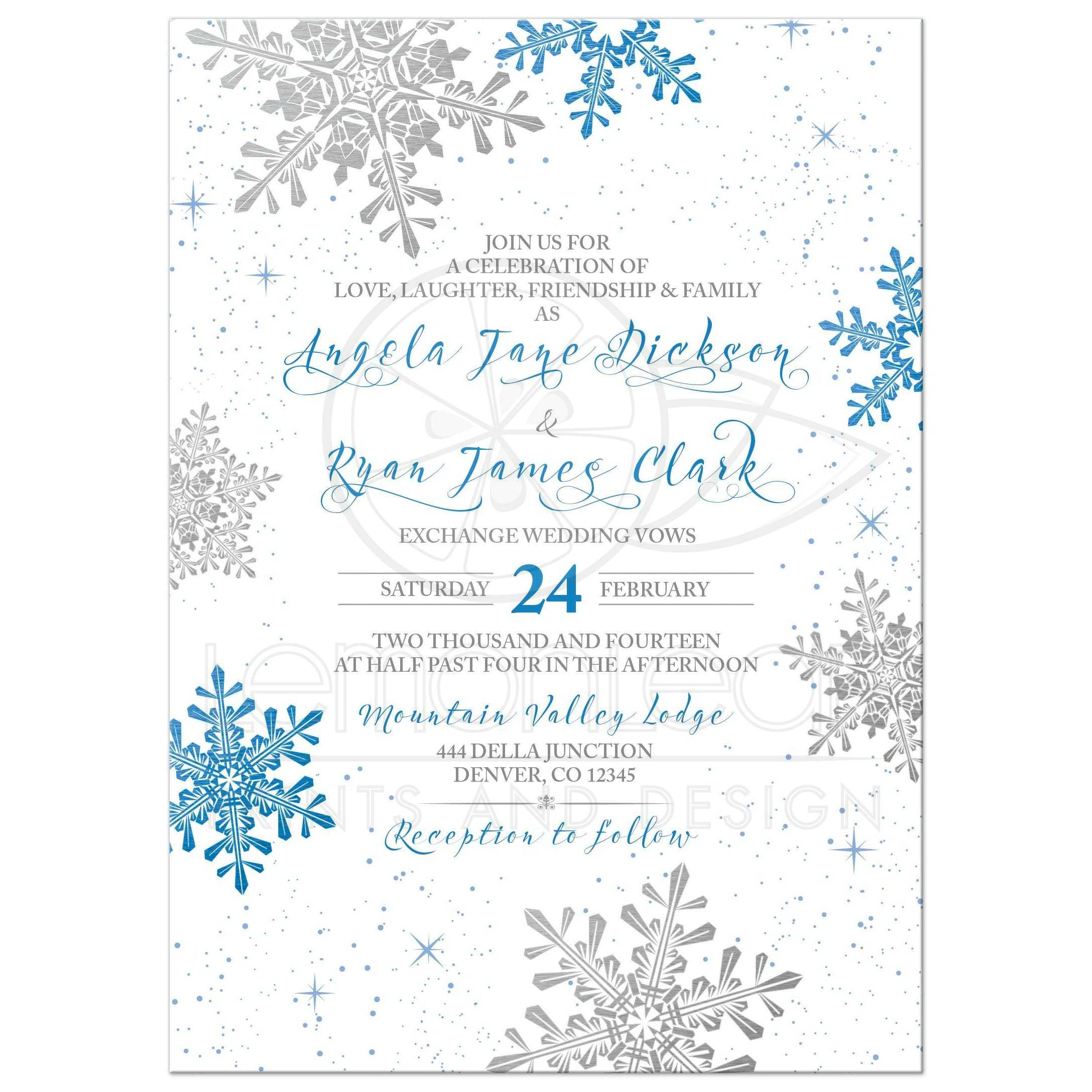 Royal Blue And Grey Snowflake Flourish Winter Wedding Invitation Front