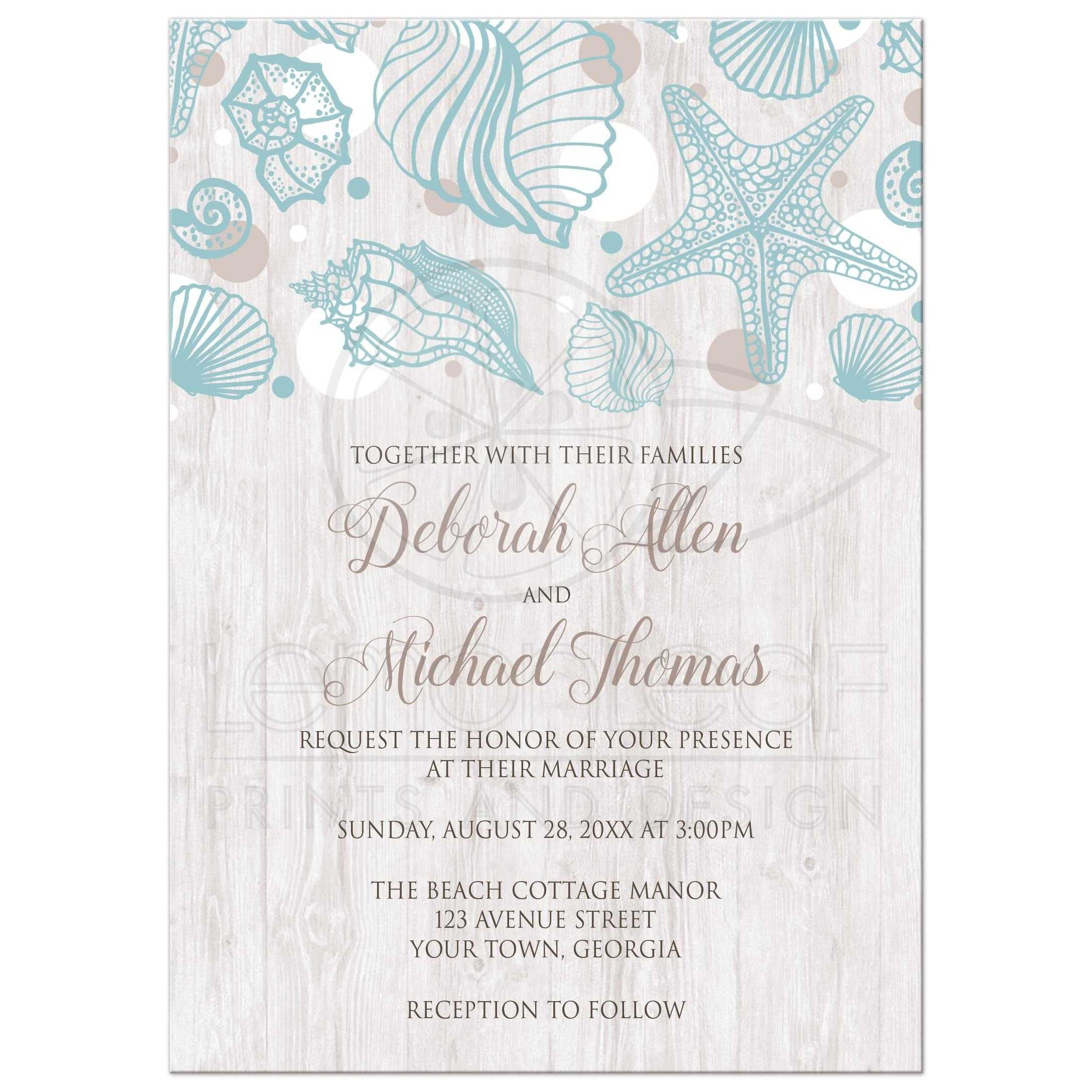 Wedding Invitations   Seashell Whitewashed Wood Beach