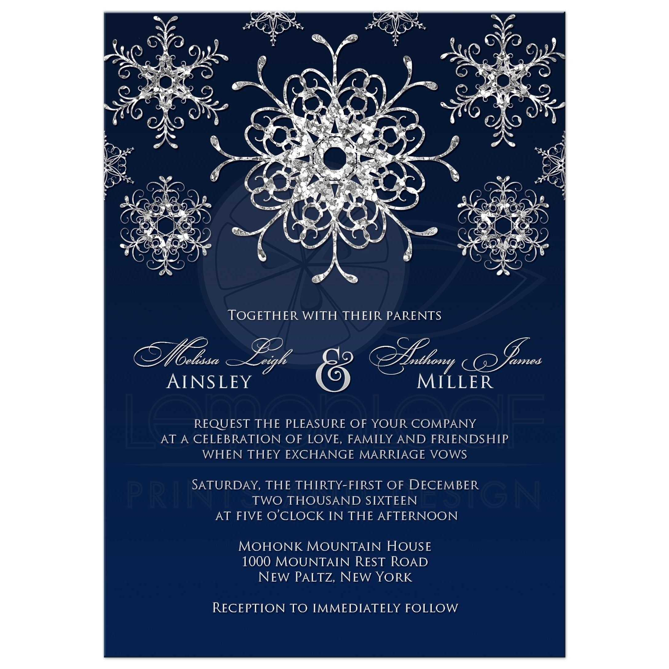 wedding invitation silver faux glitter snowflakes on midnight blue