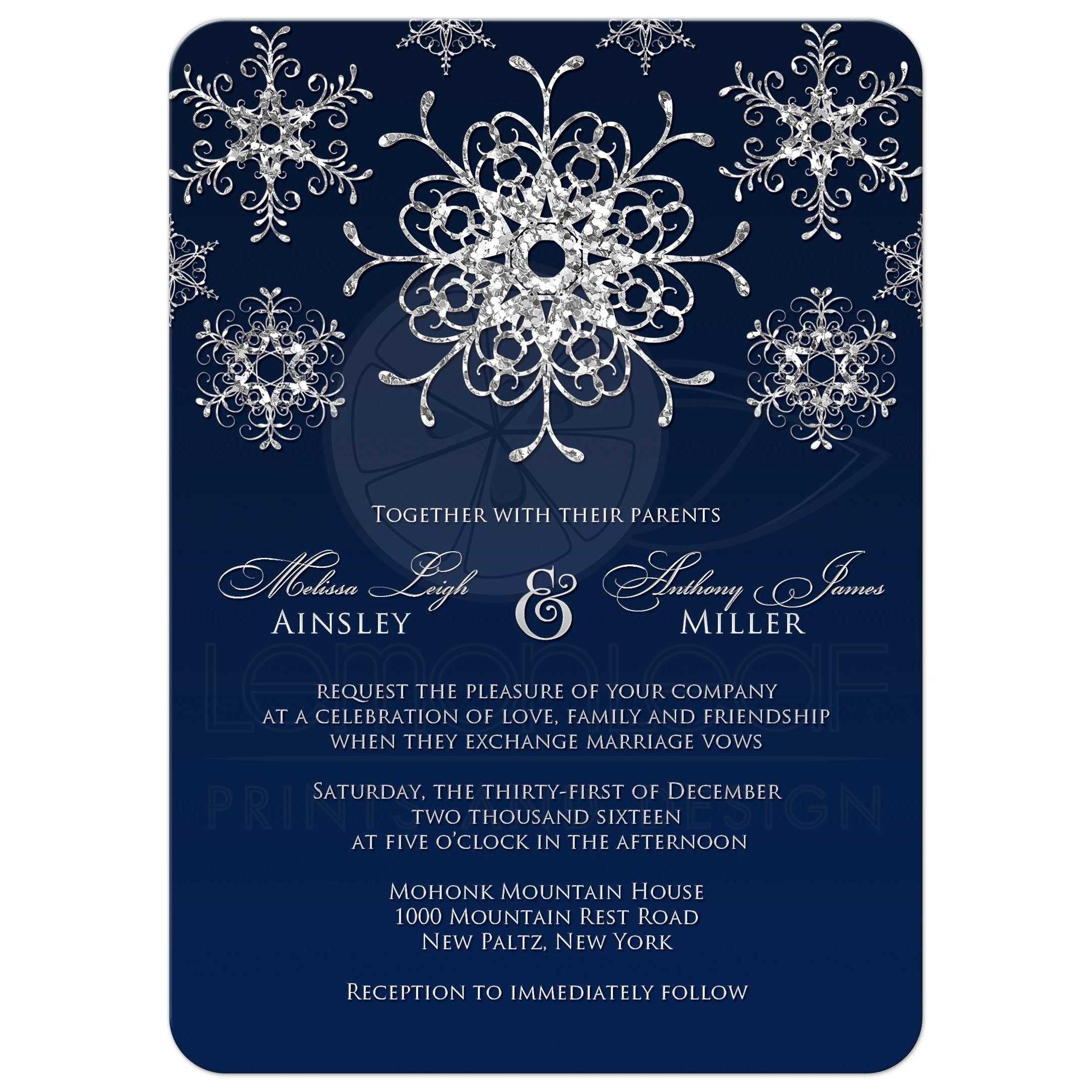 Wedding Invitation | Silver Faux Glitter Snowflakes on ...