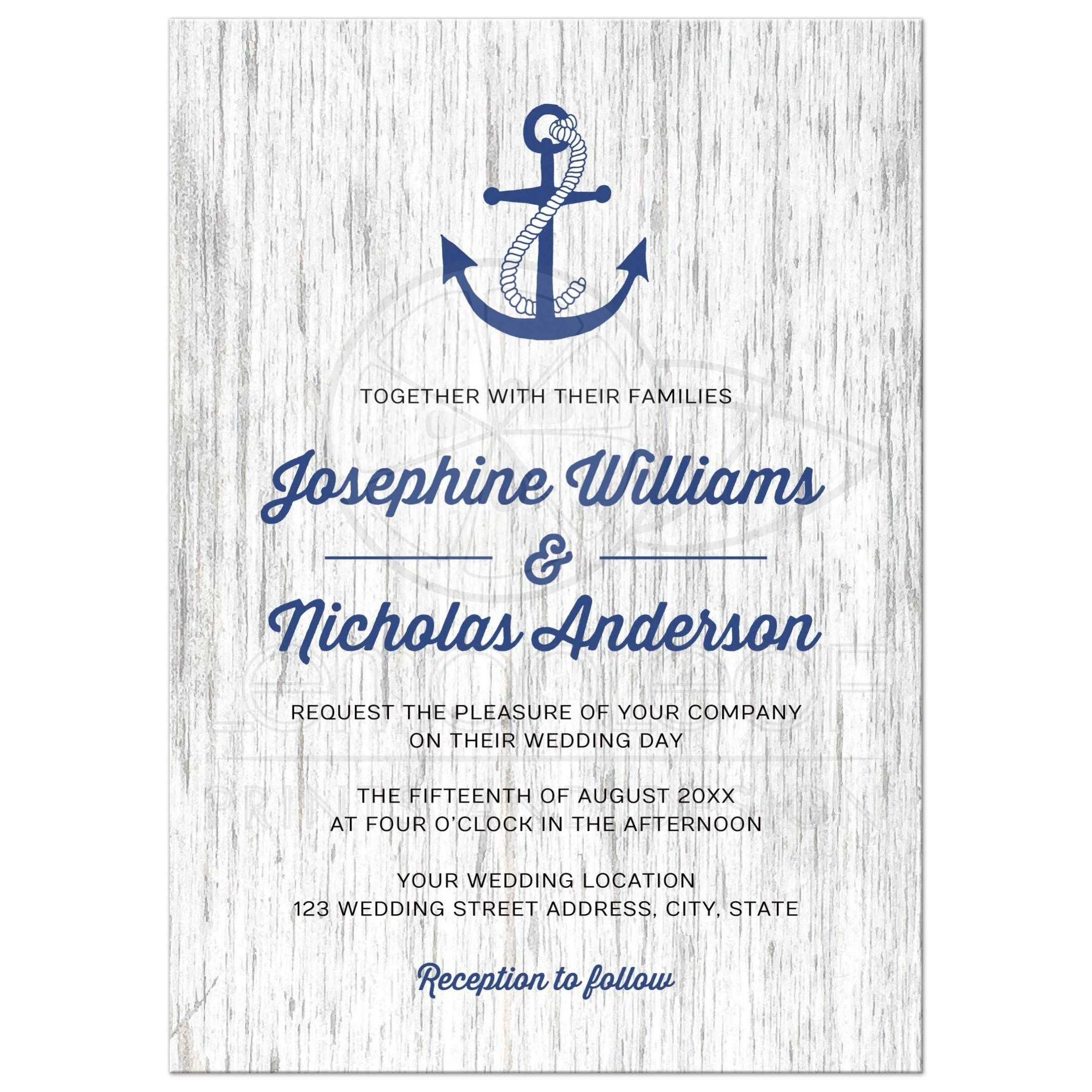 Nautical Anchor On Rustic Wood Modern Wedding Invitation