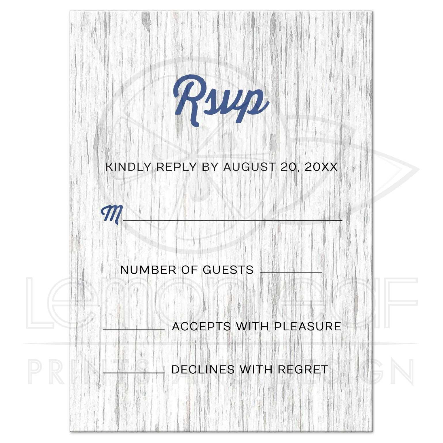 Nautical anchor on rustic wood wedding RSVP/reply card
